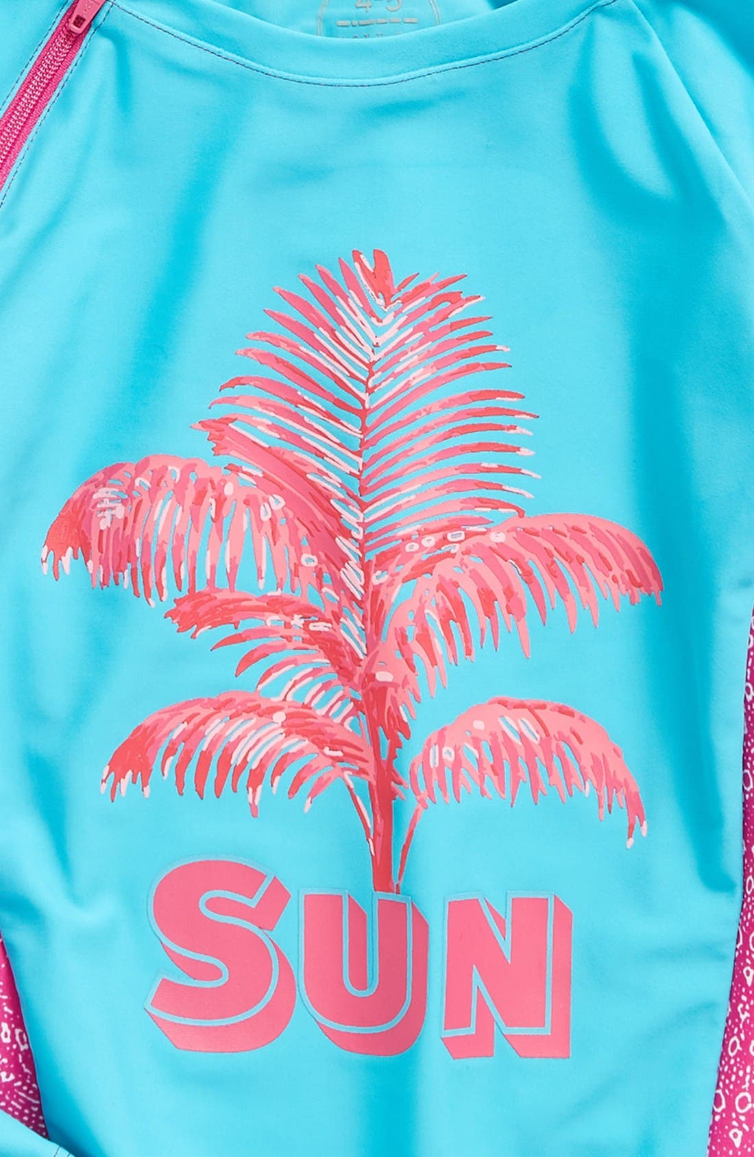 Graphic Long Sleeve Rashguard,                             Alternate thumbnail 2, color,                             Caribbean/ Fuchsia Geo