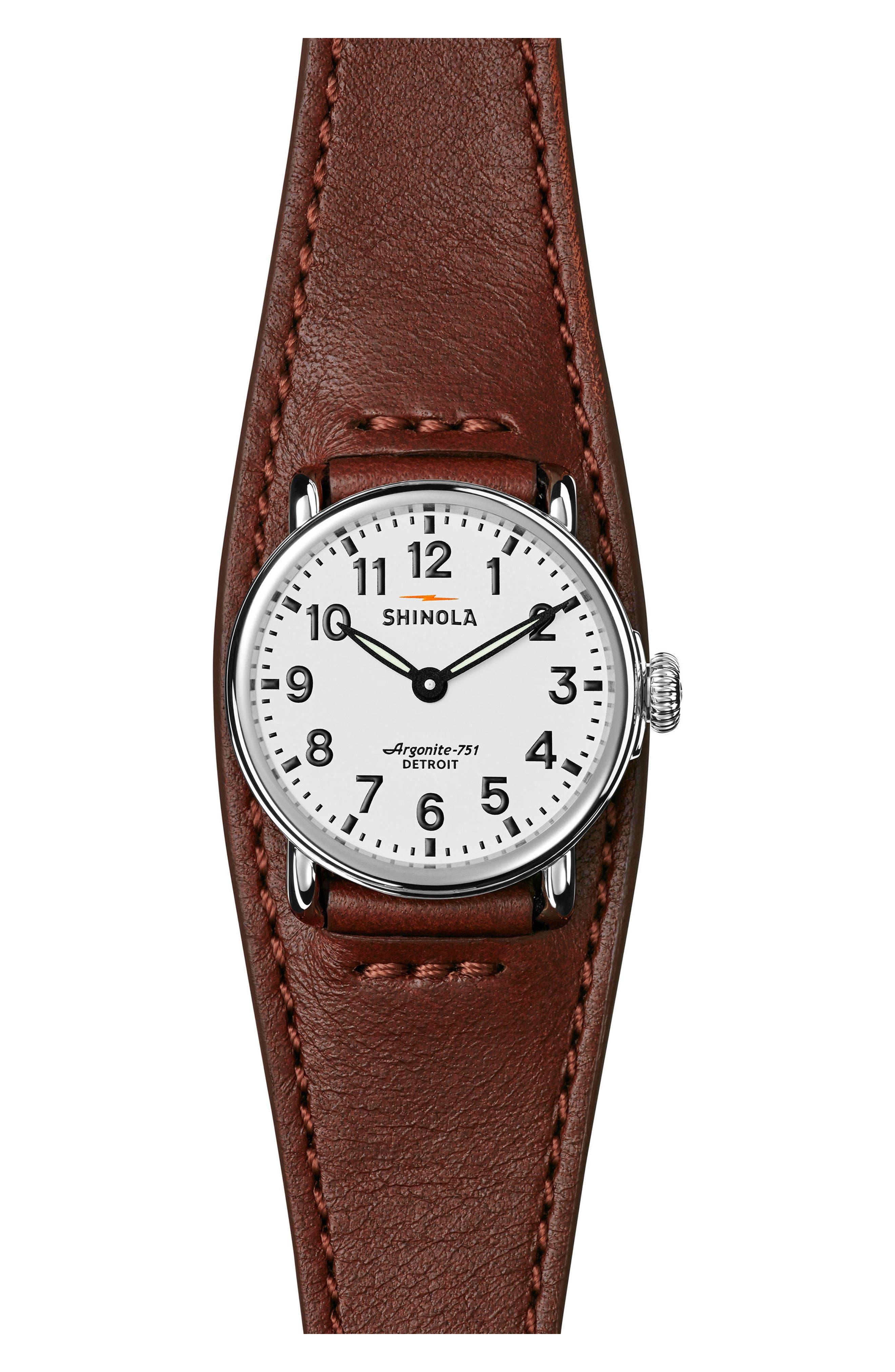 Runwell Leather Strap Watch, 28mm,                         Main,                         color, Dark Cognac