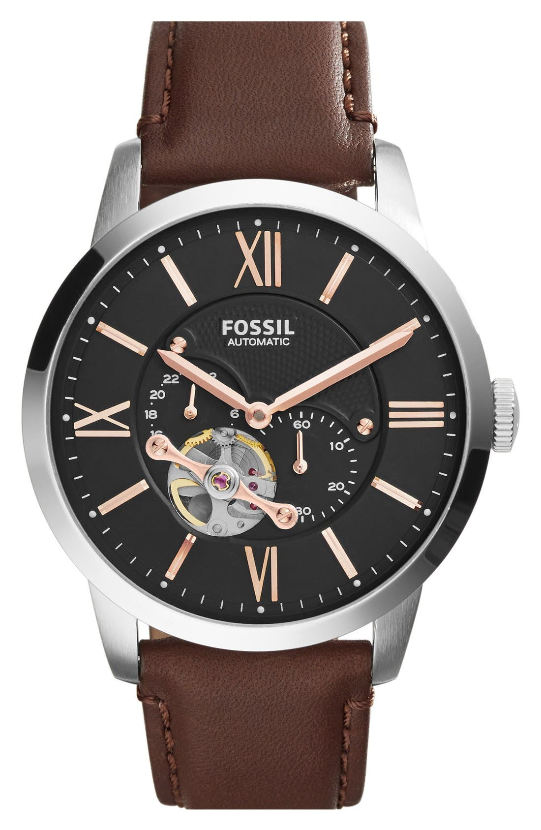 Main Image - Fossil 'Townsman' Automatic Leather Strap Watch, 44mm