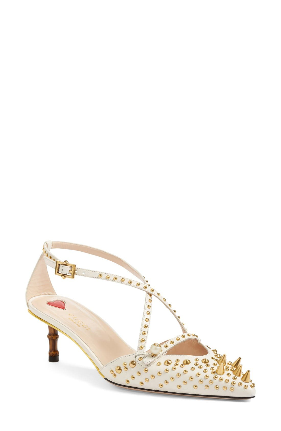 Unia Studded Pump,                         Main,                         color, White Leather