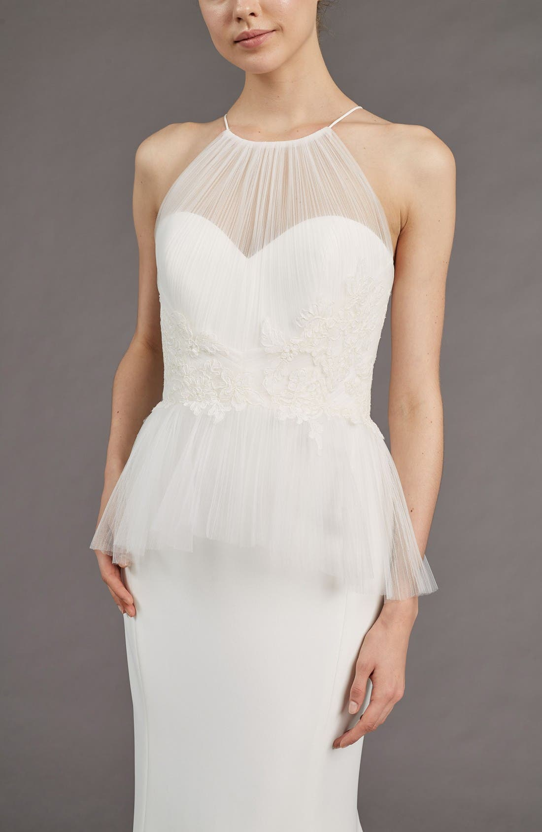 Ruby Crepe Peplum Gown,                             Alternate thumbnail 3, color,                             Ivory