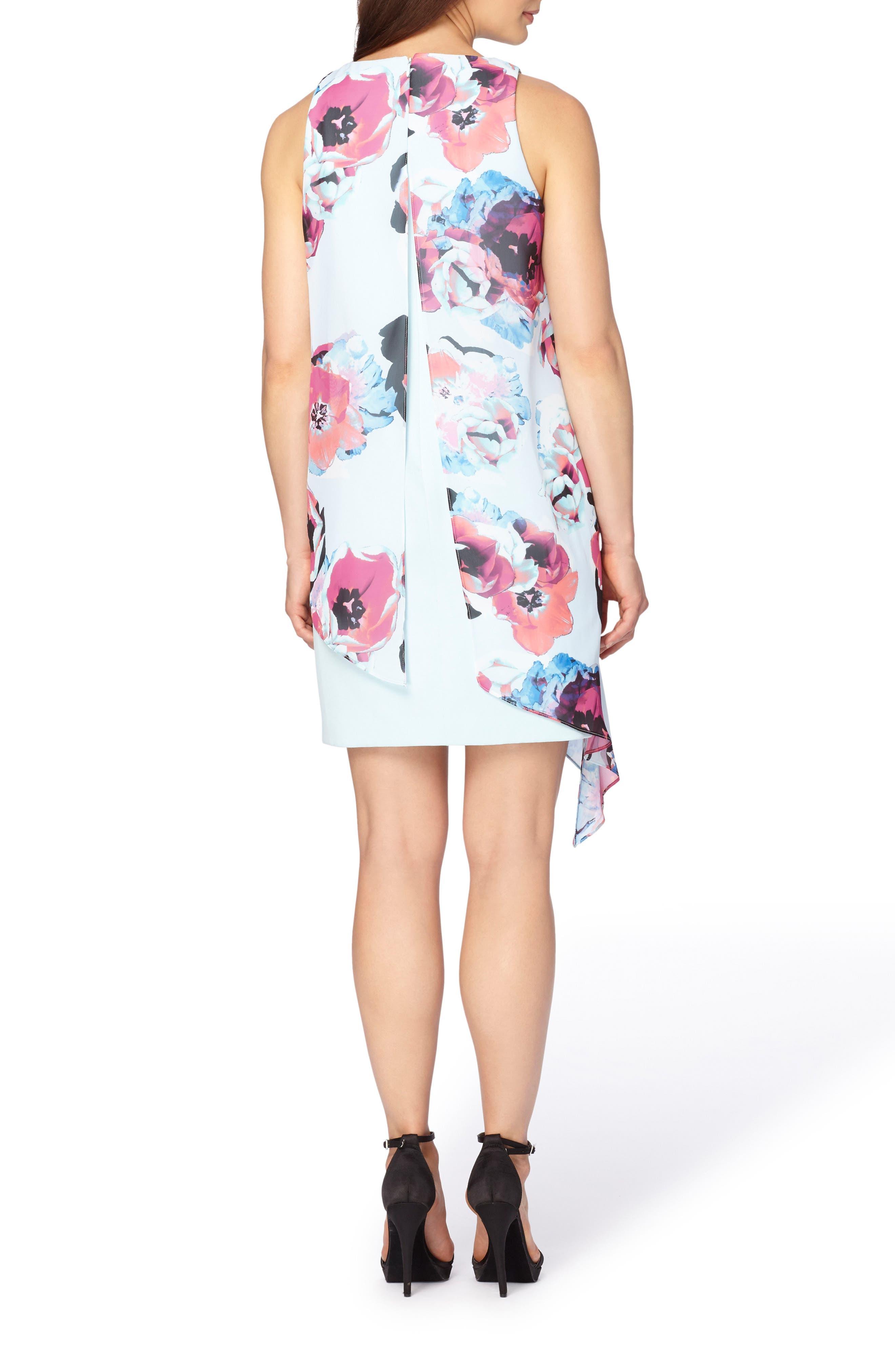 Alternate Image 2  - Tahari Asymmetrical Chiffon Shift Dress (Petite)