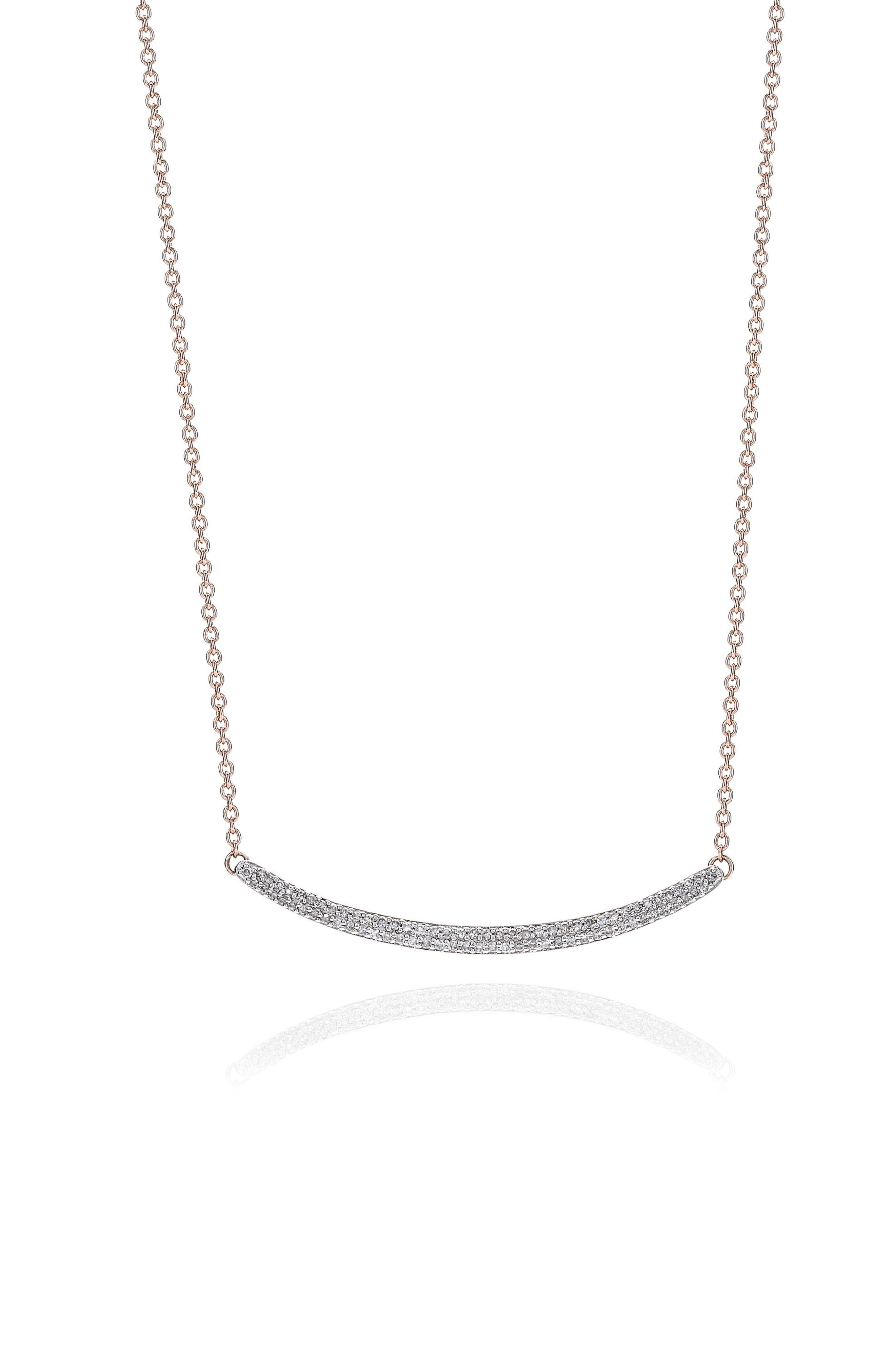 Skinny Diamond Necklace,                         Main,                         color, Rose Gold