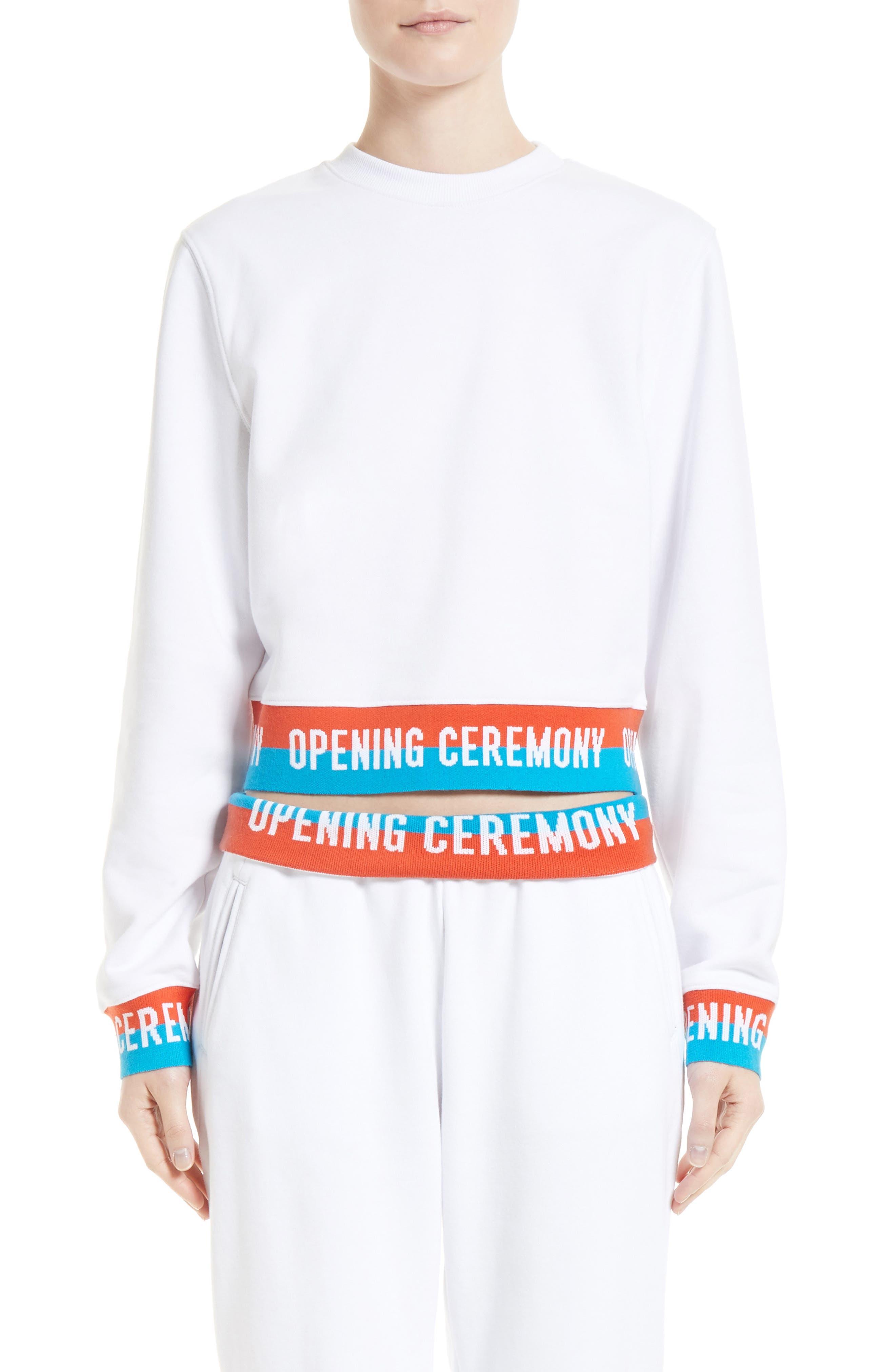 Elastic Logo Crop Sweatshirt,                         Main,                         color, White