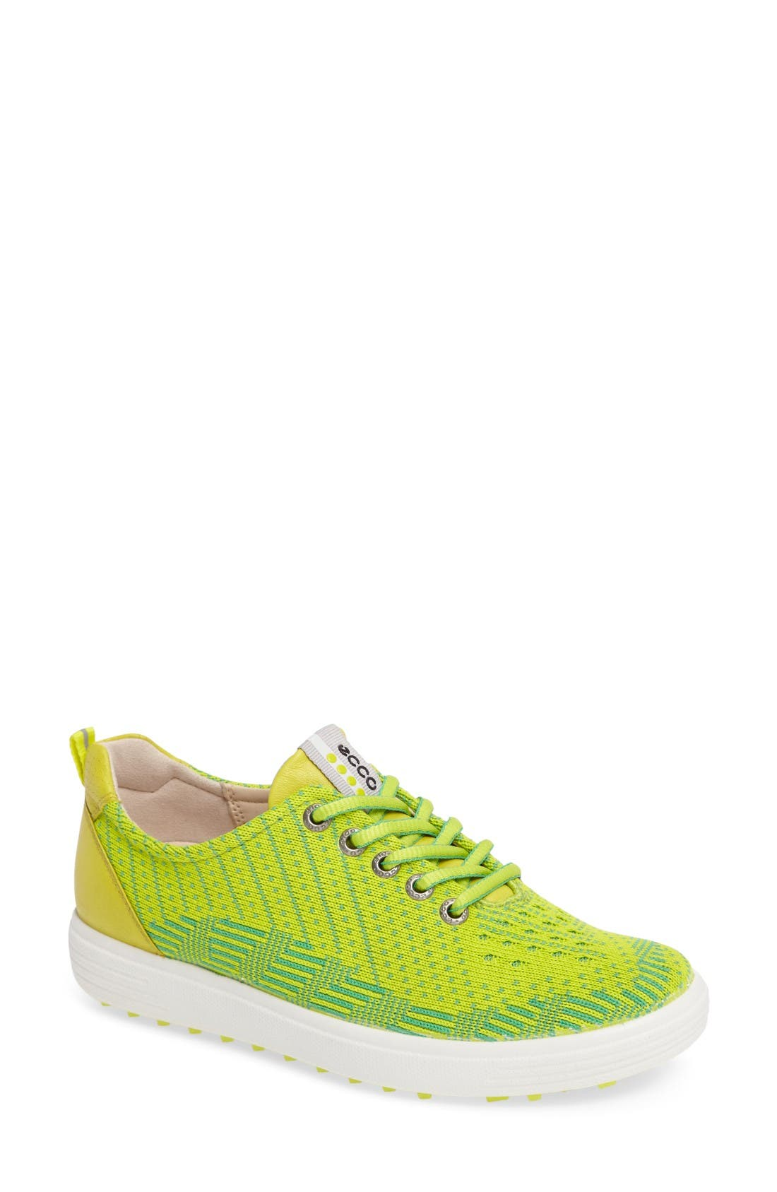Casual Hybrid Knit Golf Sneaker,                         Main,                         color, Lime Punch/ Neon Leather