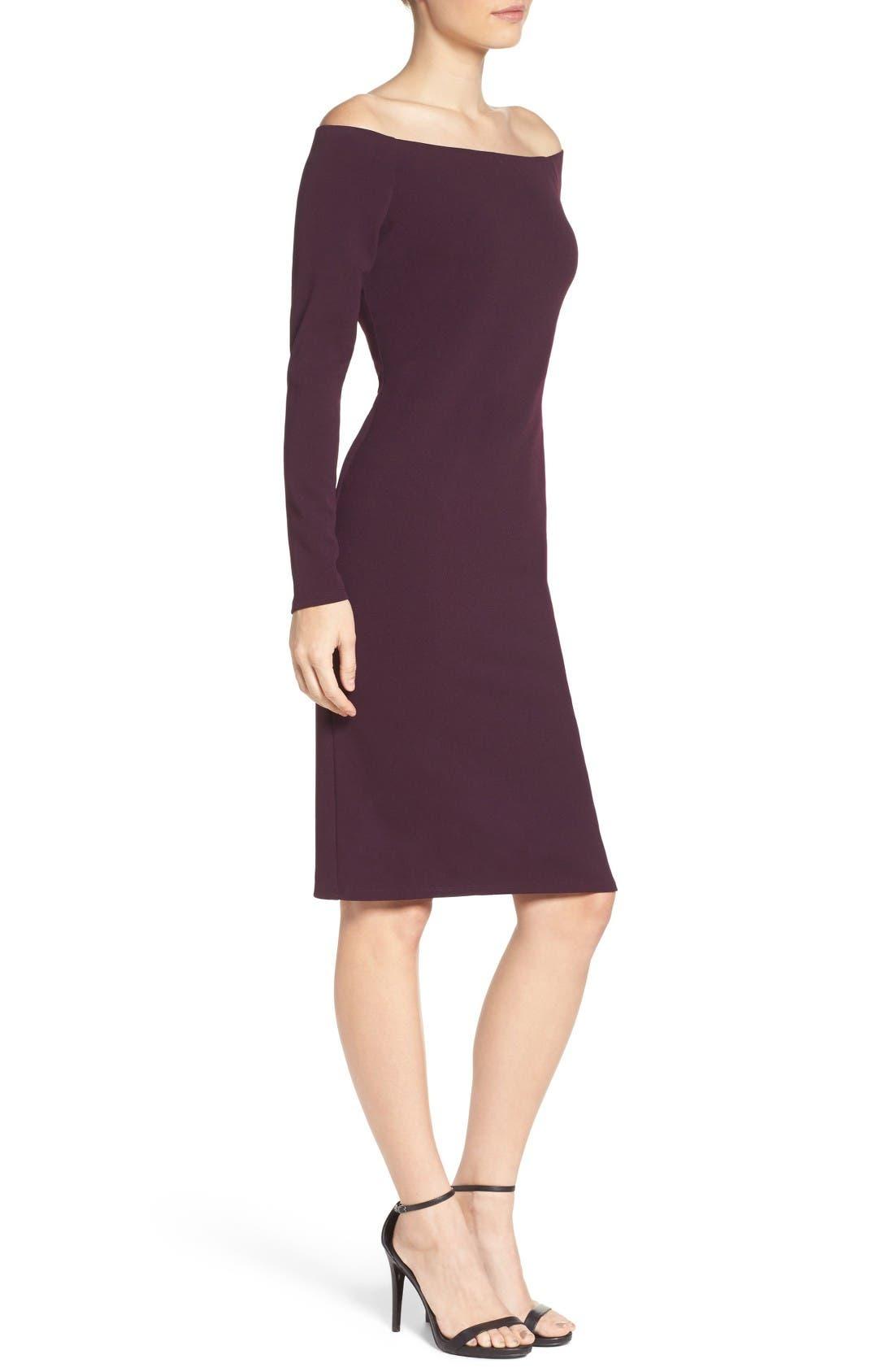 Alternate Image 3  - Eliza J Off the Shoulder Scuba Sheath Dress (Regular & Petite)