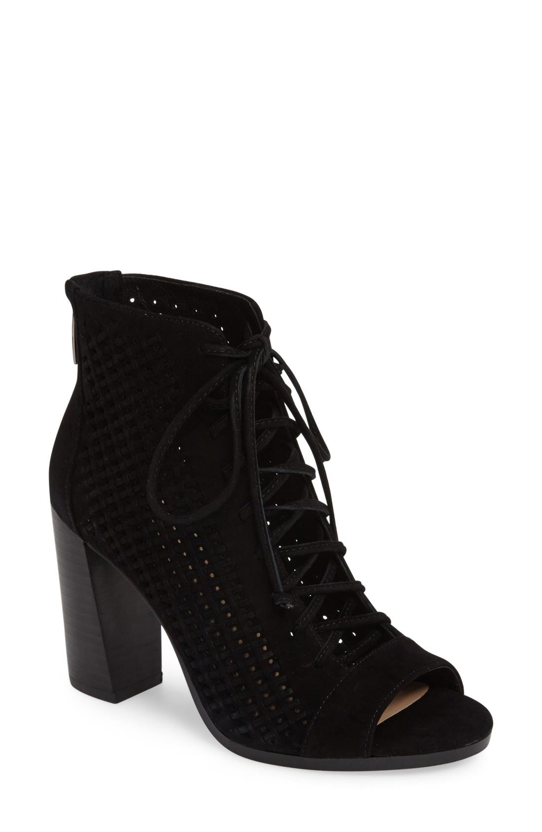 Kevina Lace-Up Open Toe Bootie,                             Main thumbnail 1, color,                             Black Suede