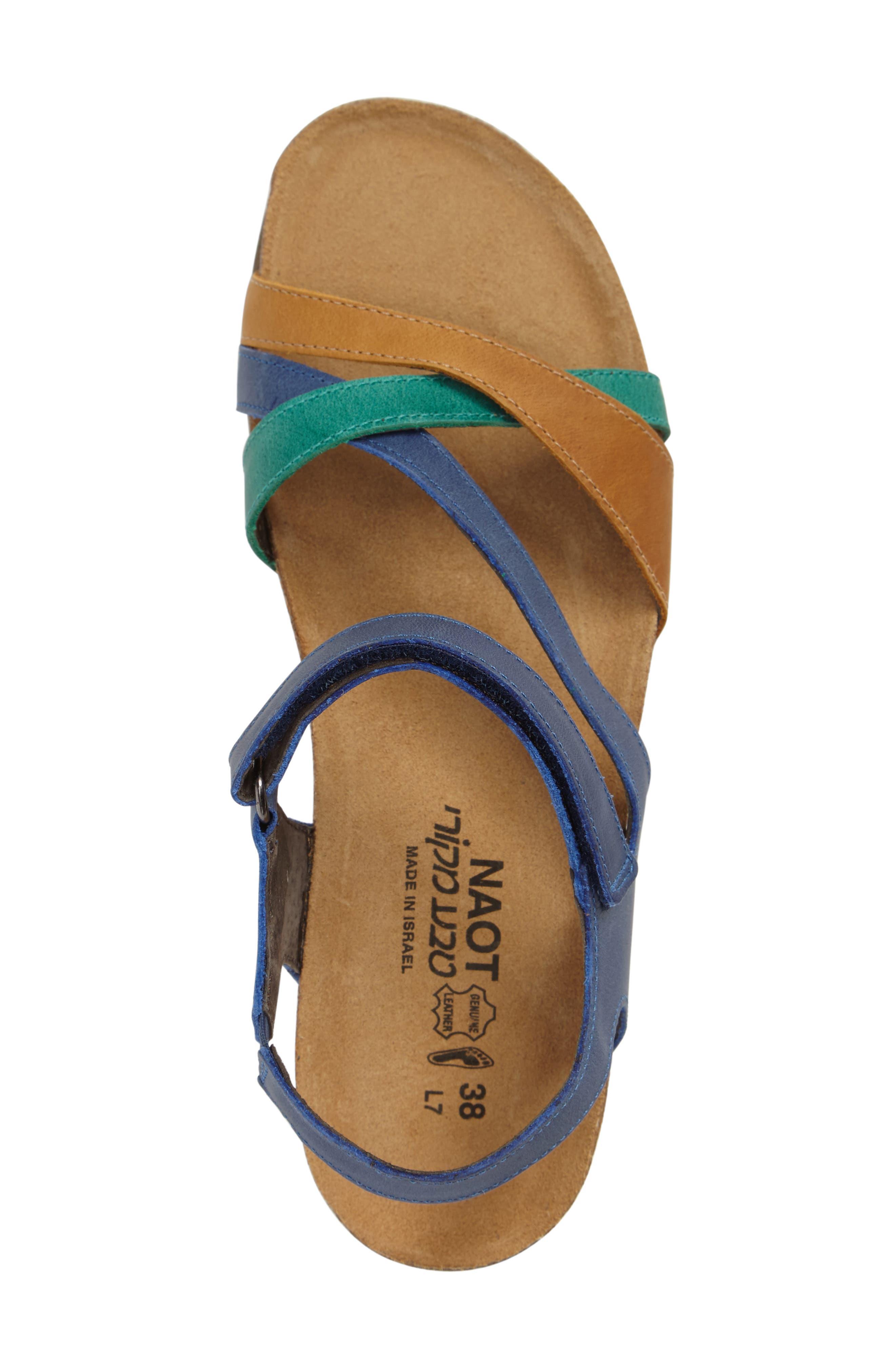 'Sophia' Sandal,                             Alternate thumbnail 3, color,                             Blue/ Brown Nubuck Leather