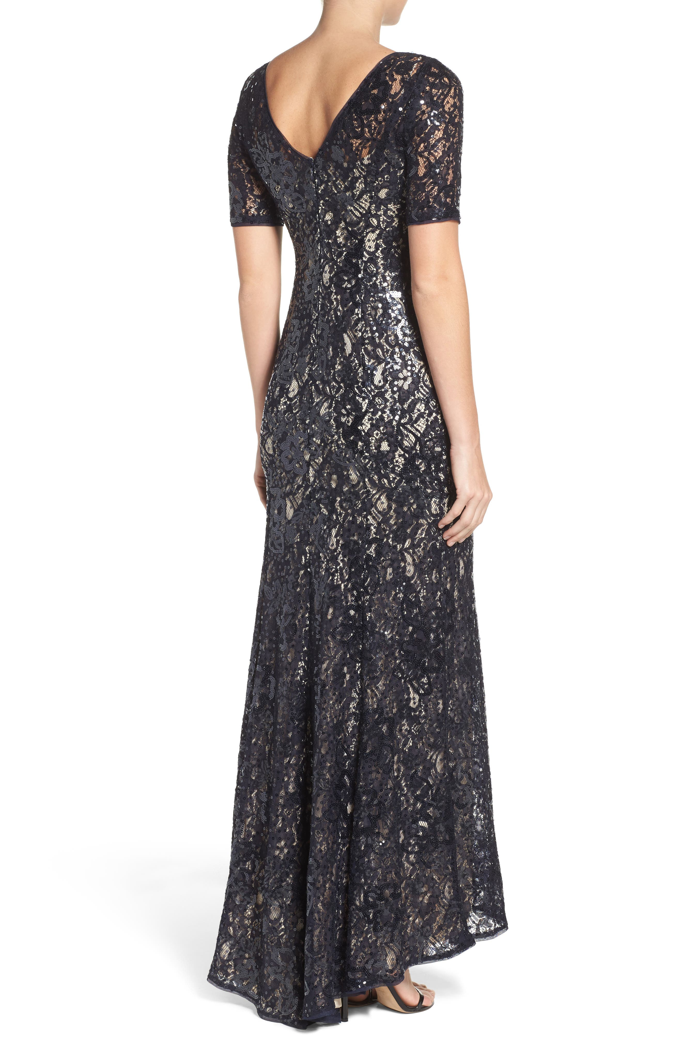 Sequin Lace Gown,                             Alternate thumbnail 2, color,                             Midnight/ Nude