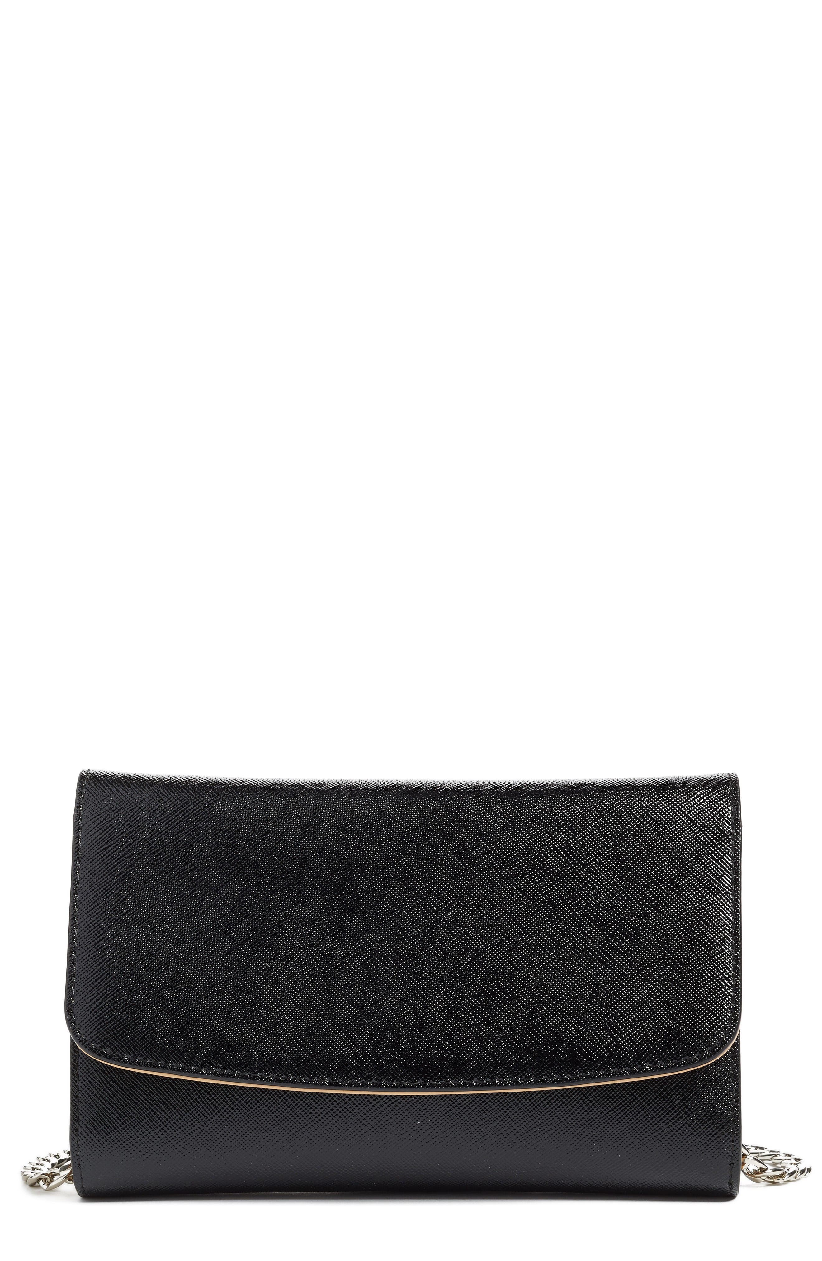 Wallet on a Chain,                             Main thumbnail 1, color,                             Black Saffiano