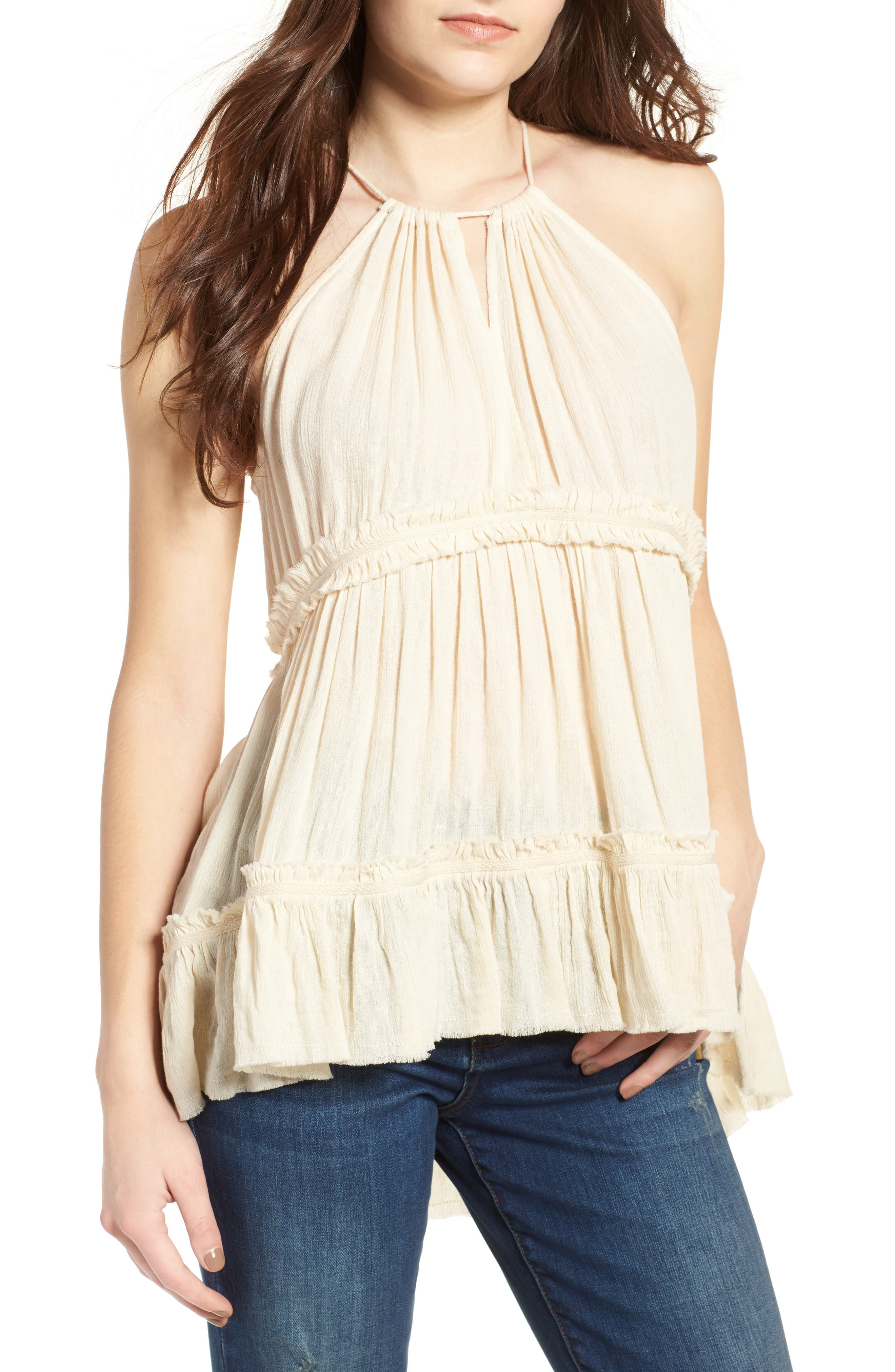 Tiered Gauze Tank,                         Main,                         color, Beige Angora