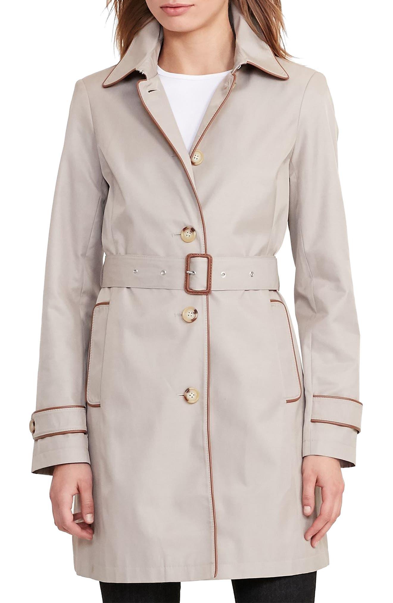 Alternate Image 1 Selected - Lauren Ralph Lauren Faux Leather Trim Trench Coat