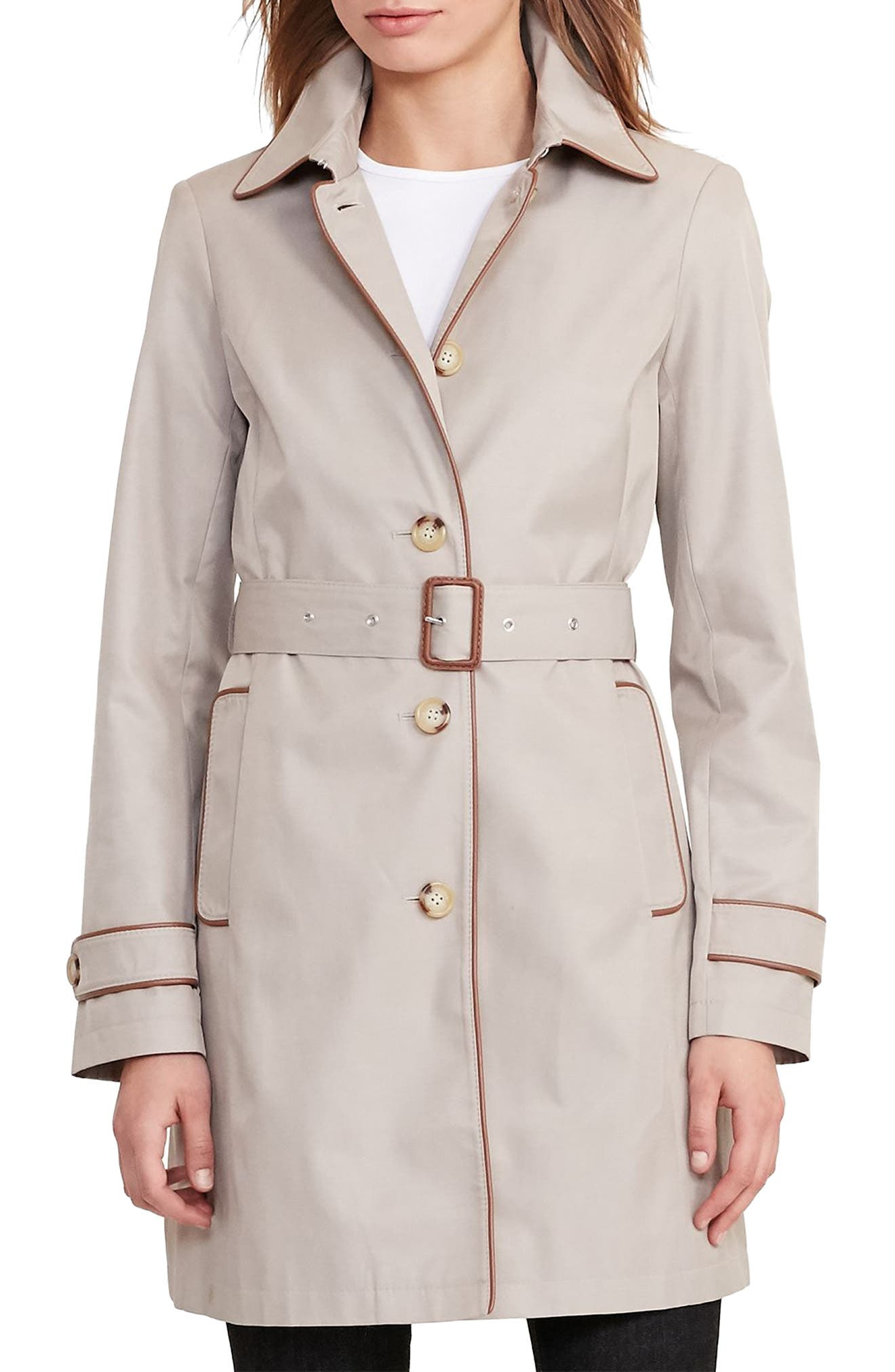 Main Image - Lauren Ralph Lauren Faux Leather Trim Trench Coat