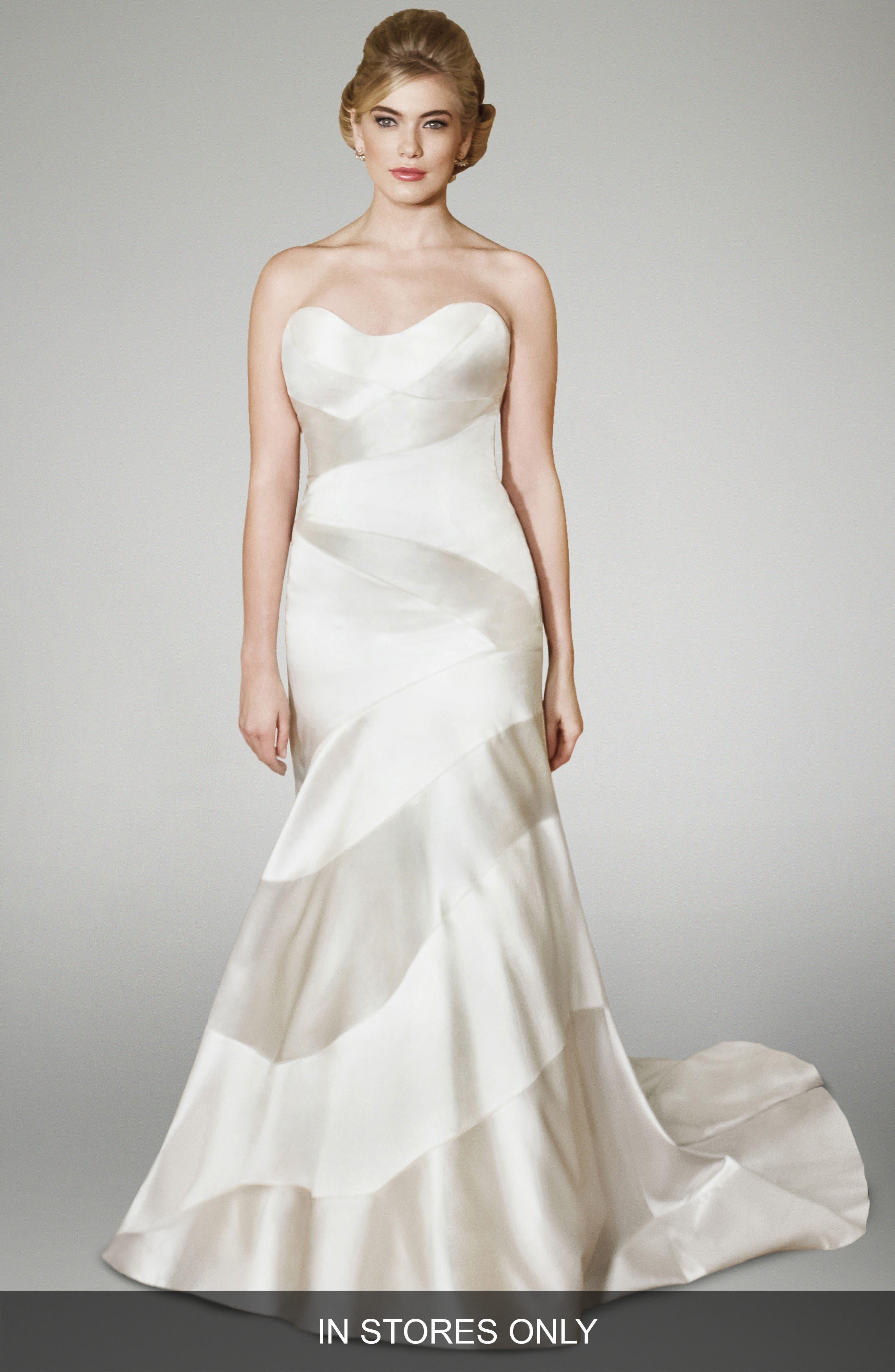 Blake Strapless Silk Trumpet Gown,                         Main,                         color, Off White/ Blush
