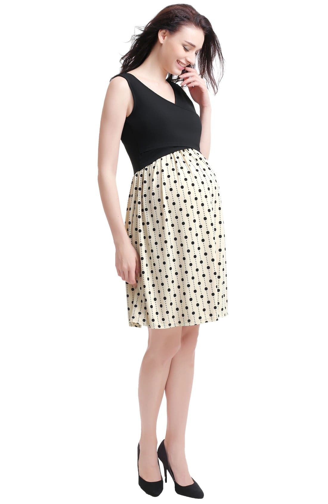 Joyce Maternity/Nursing Dress,                             Alternate thumbnail 4, color,                             Black/ Beige