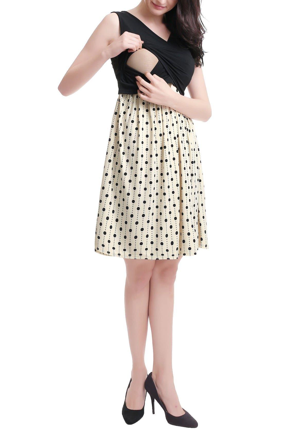 Joyce Maternity/Nursing Dress,                             Alternate thumbnail 5, color,                             Black/ Beige