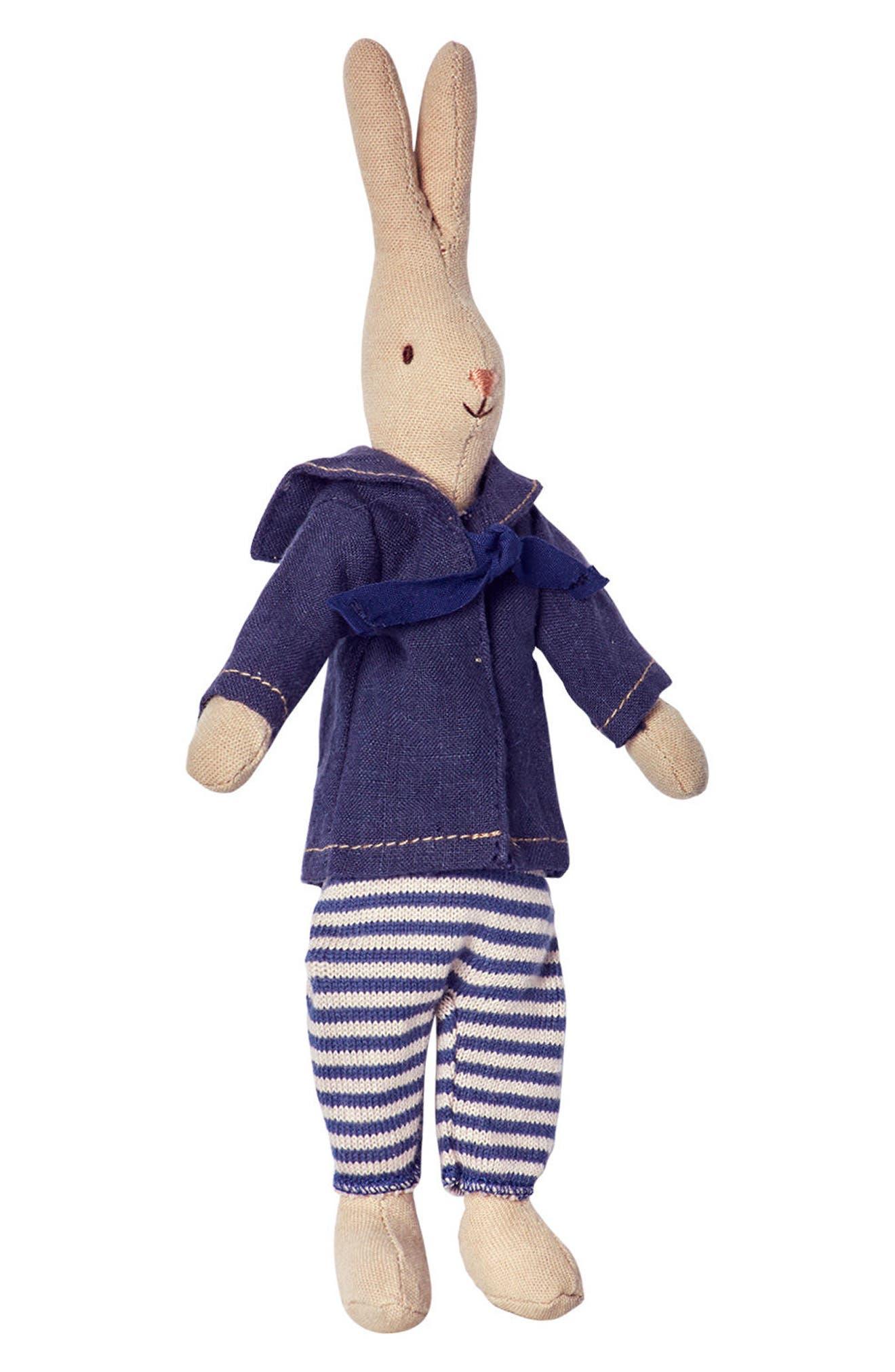Mini Marcus Rabbit Stuffed Animal,                             Main thumbnail 1, color,                             Blue