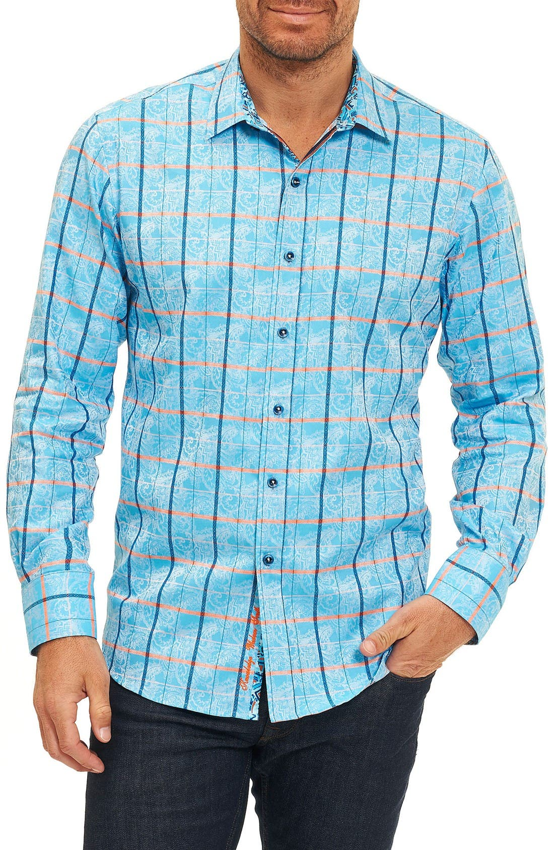 Kannan Egyptian Cotton Sport Shirt,                         Main,                         color, Sky