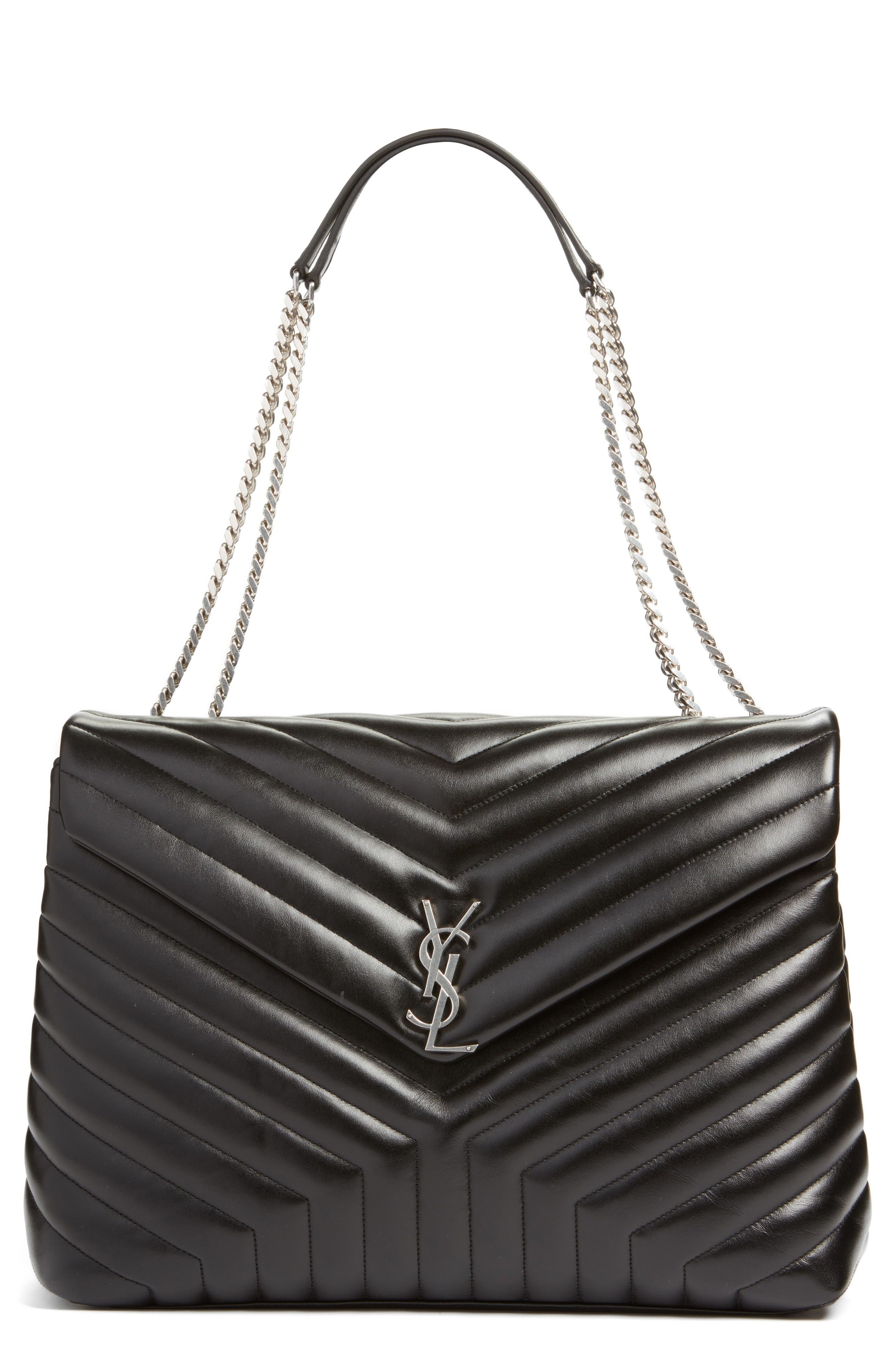 Main Image - Saint Laurent Monogram Quilted Leather Slouchy Shoulder Bag