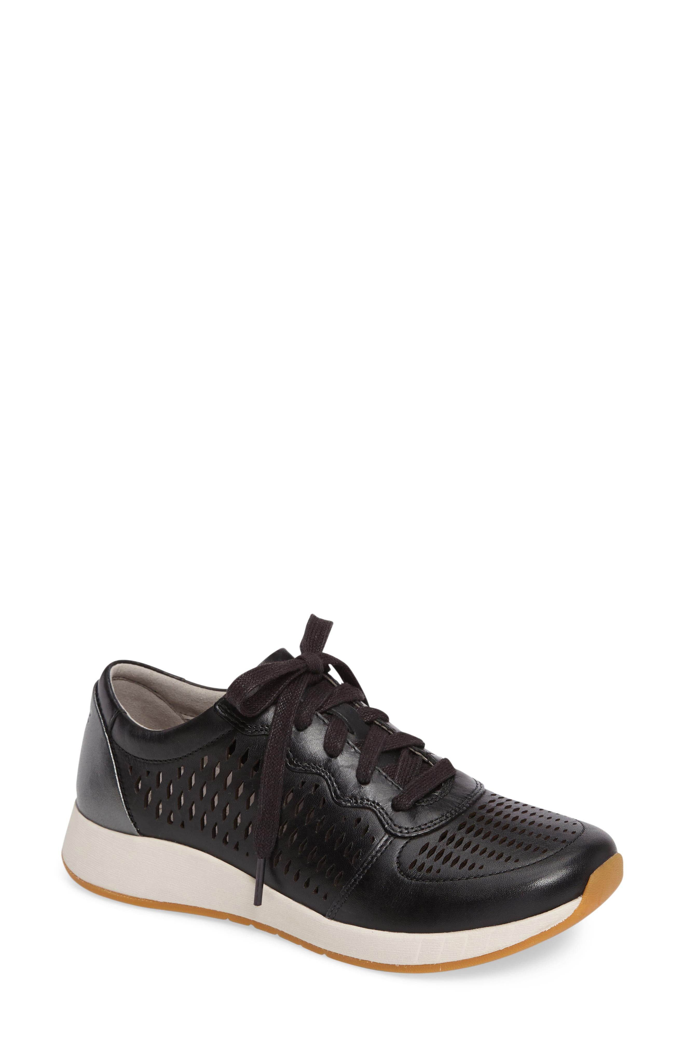 Charlie Perforated Sneaker,                         Main,                         color, Black Leather