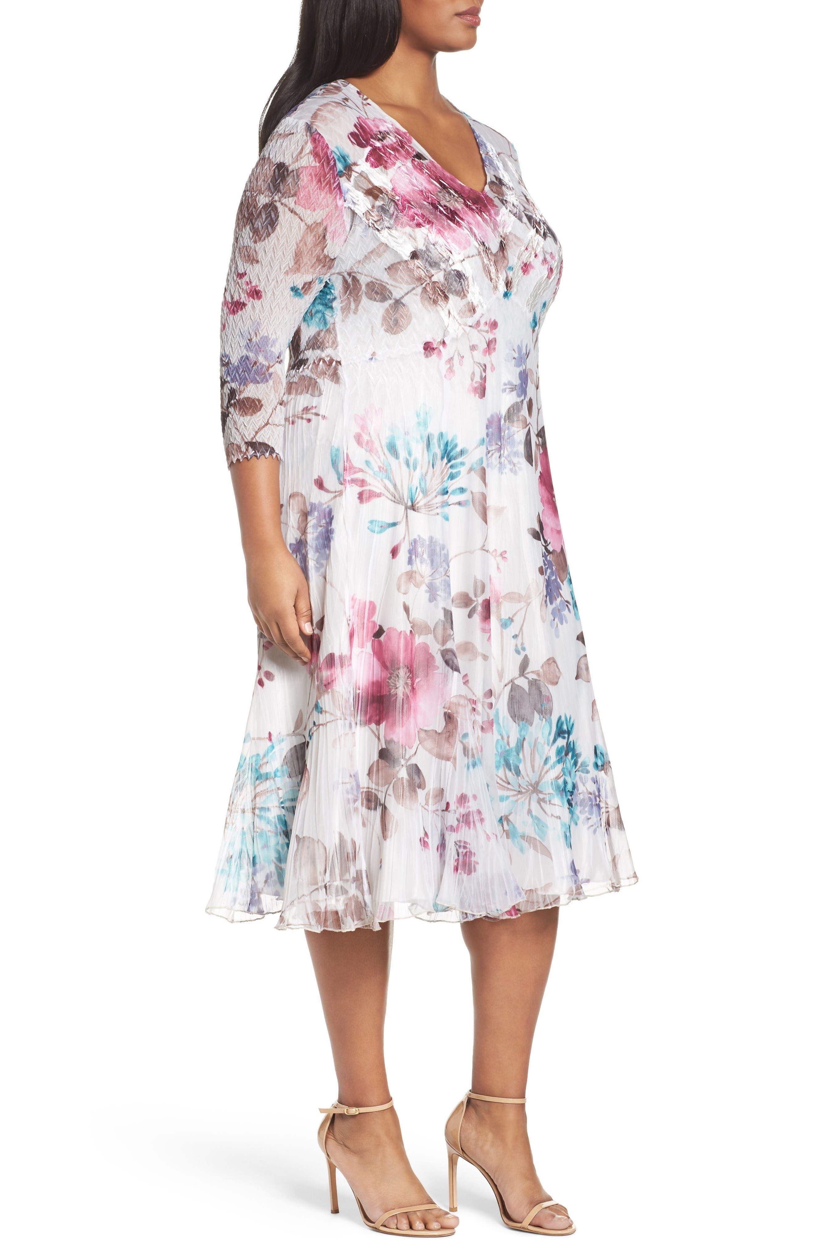 Alternate Image 3  - Komarov Floral Chiffon & Charmeuse A-Line Dress (Plus Size)