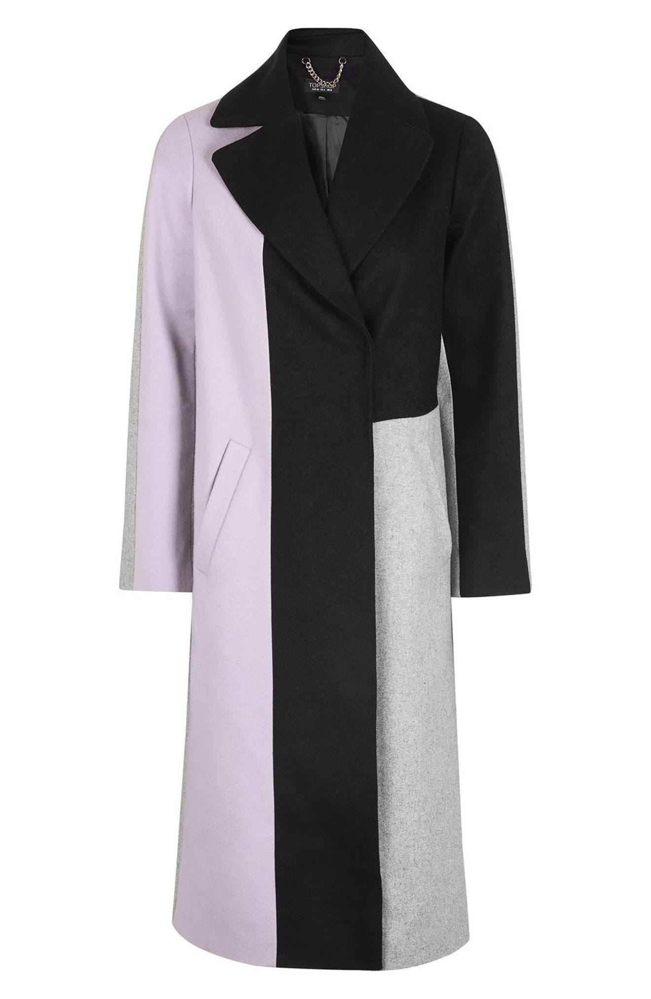 Alternate Image 4  - Topshop Colorblock Wool Blend Coat