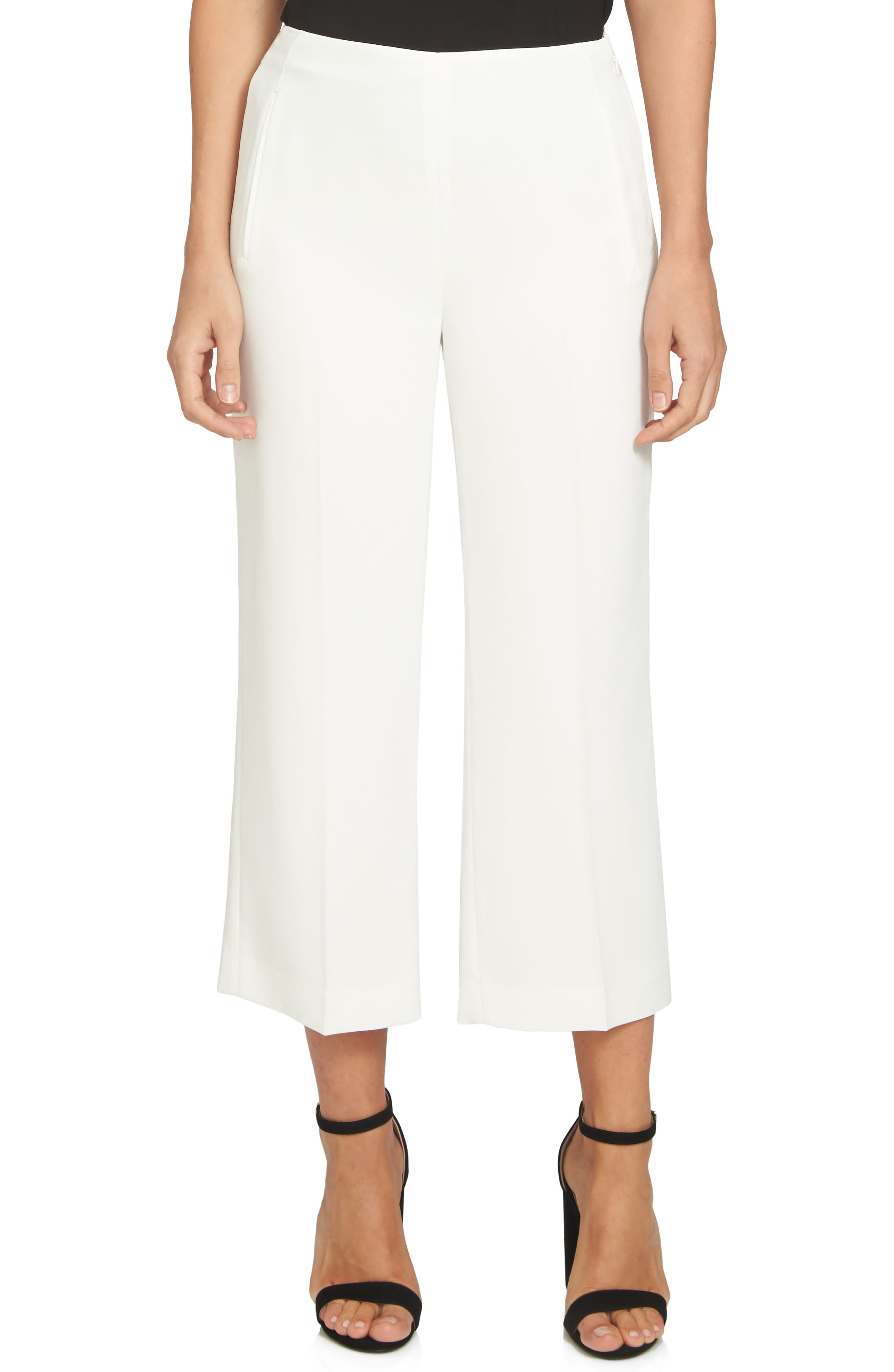 Moss Crepe Crop Trousers,                             Main thumbnail 1, color,                             New Ivory