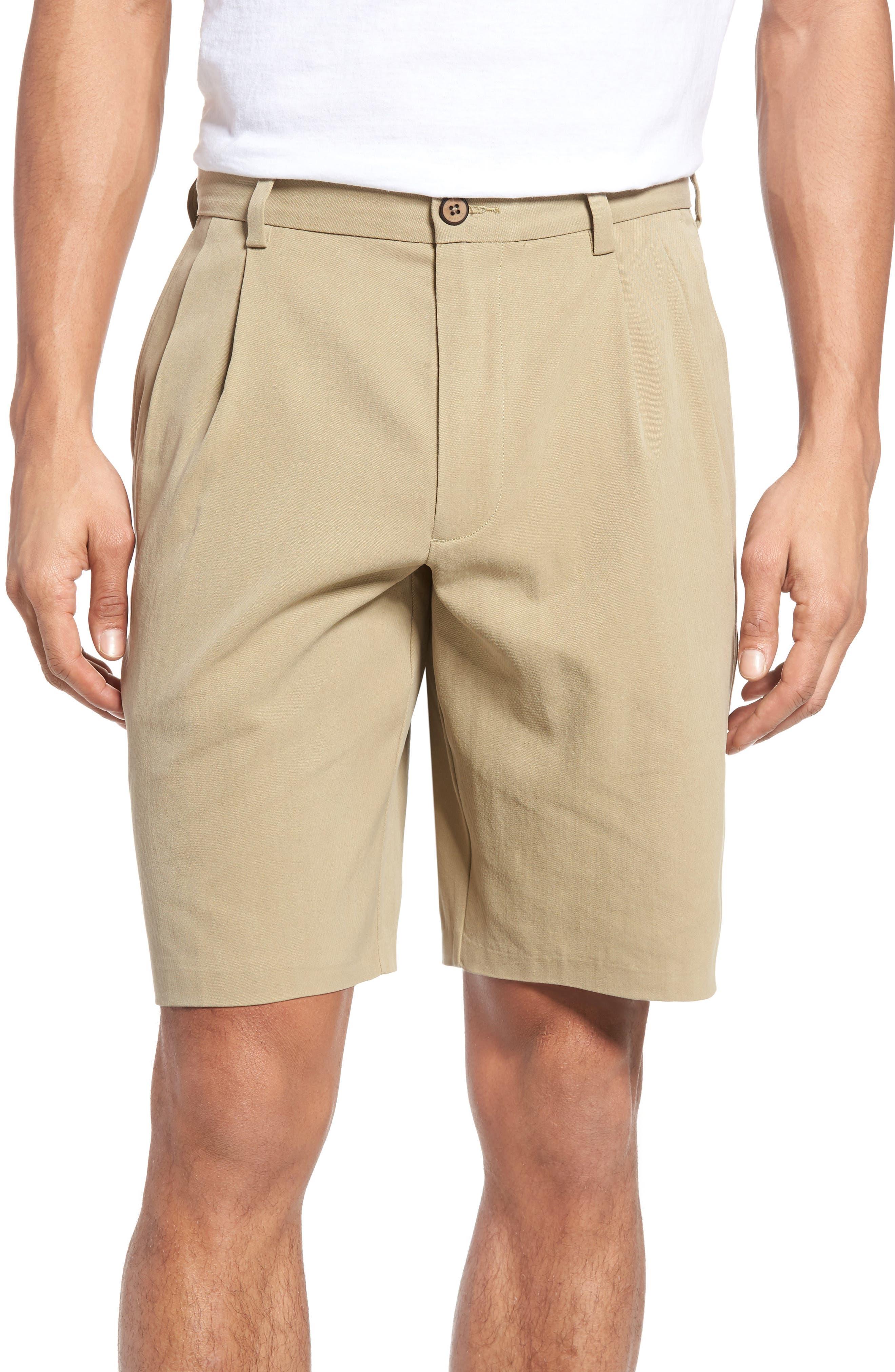 St. Thomas Pleated Shorts,                             Main thumbnail 1, color,                             Sisal
