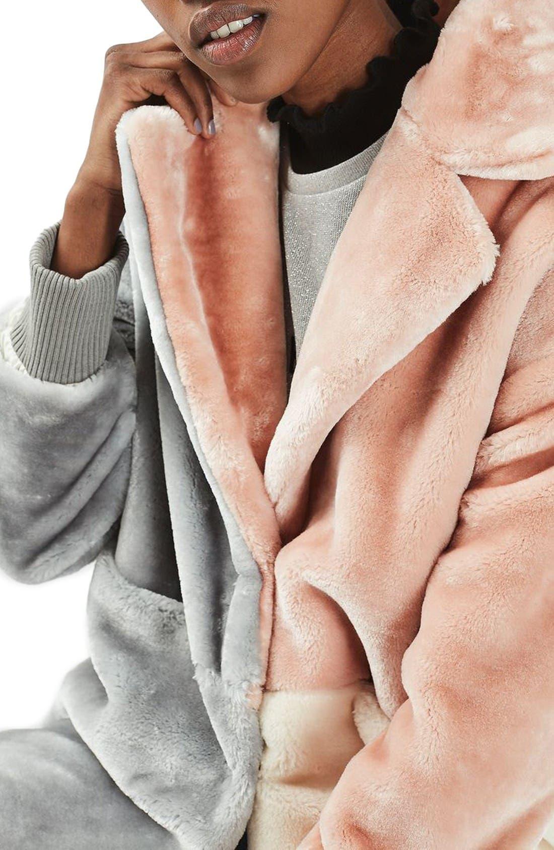 Alternate Image 5  - Topshop Patchwork Faux Fur Coat