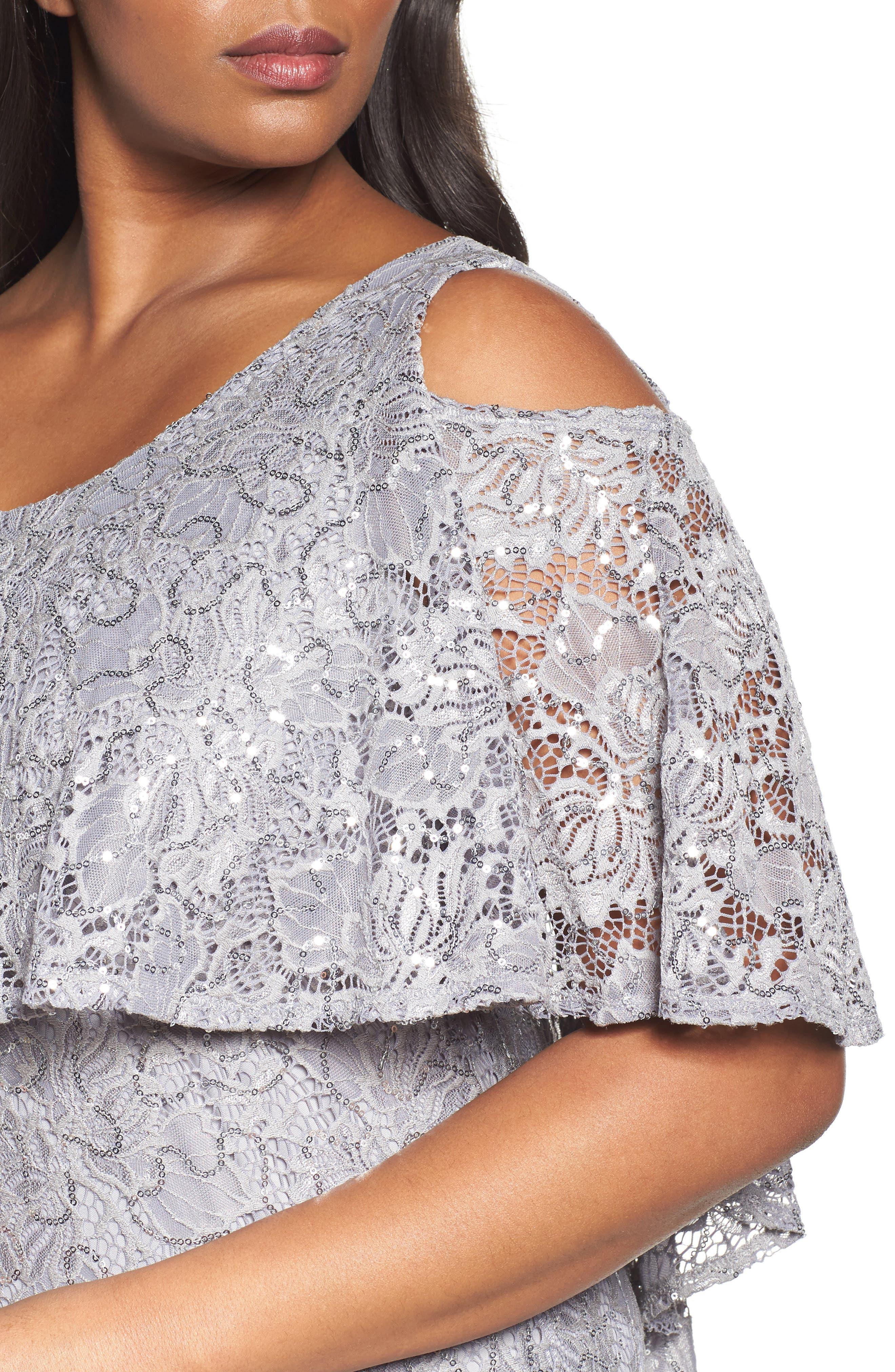 Sequin Lace Cold Shoulder Long Dress,                             Alternate thumbnail 4, color,                             Grey