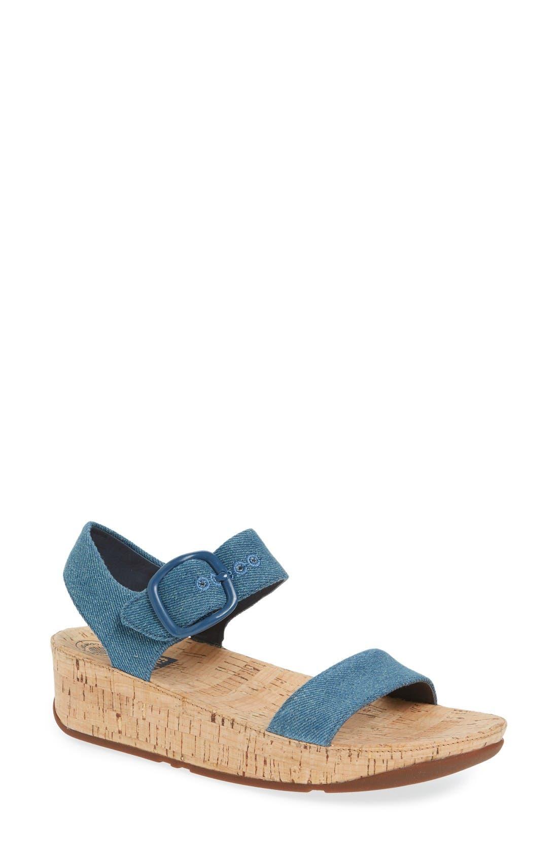 Bon Sandal,                         Main,                         color, Denim Fabric