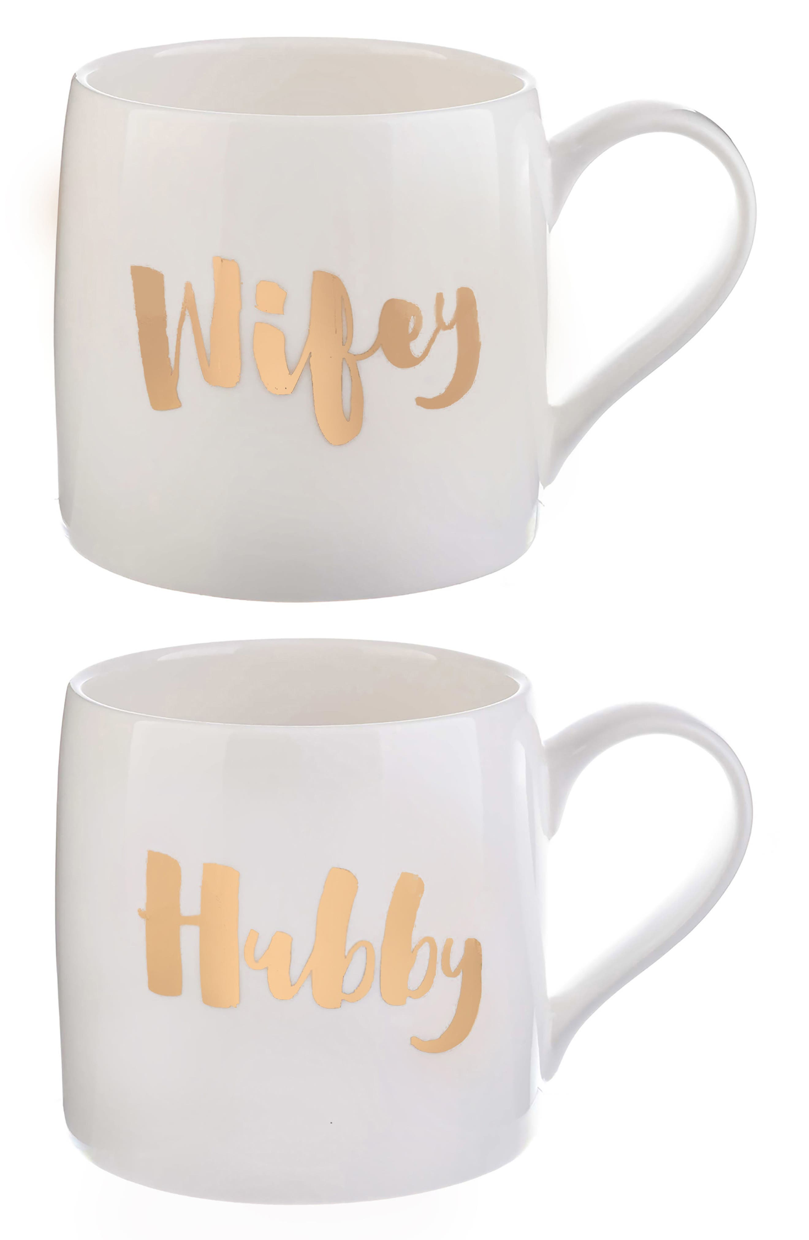 Alternate Image 1 Selected - Slant Collections Wifey/Hubby Set of 2 Coffee Mugs