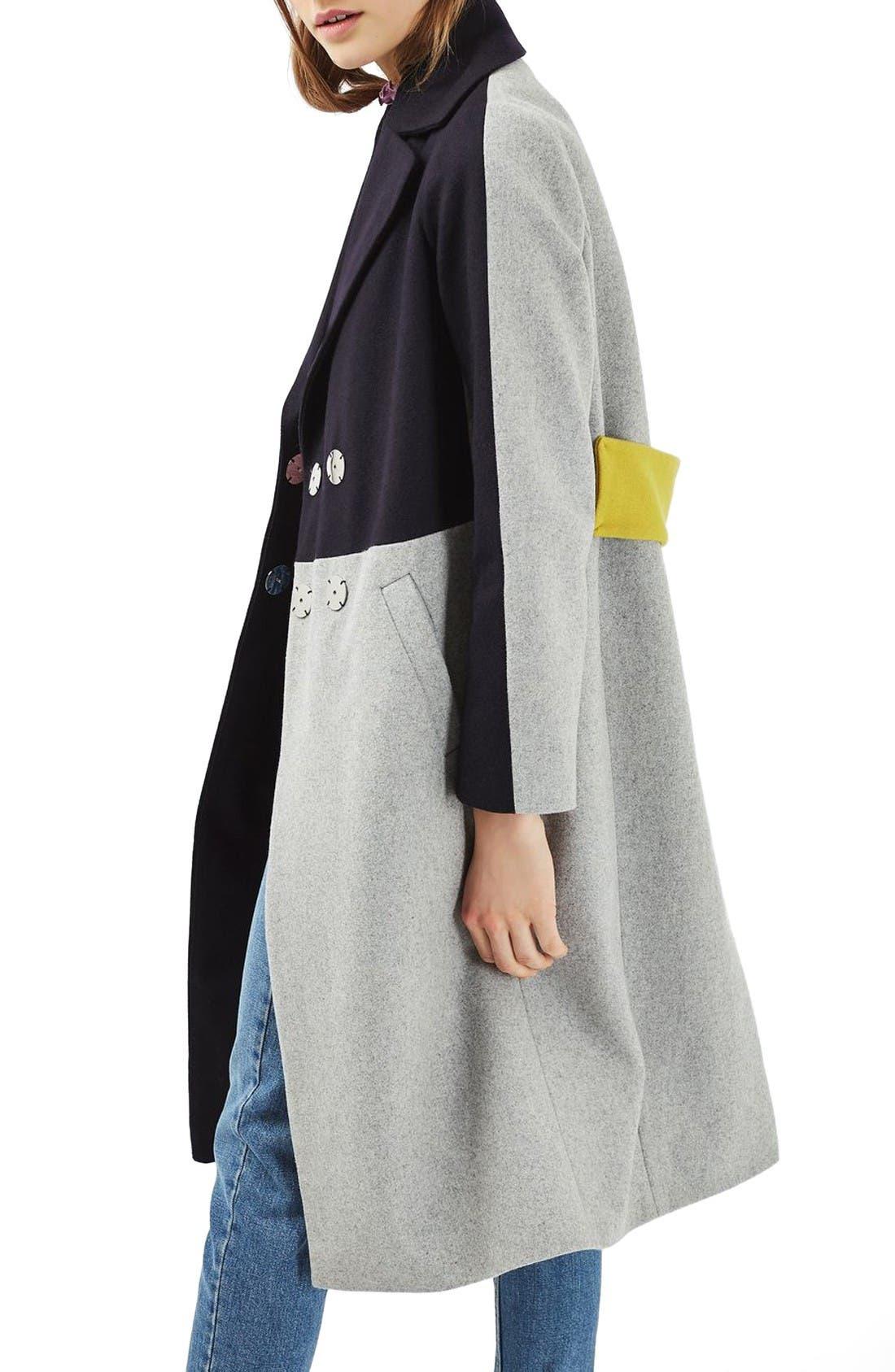 Alternate Image 3  - Topshop Colorblock Wool Blend Coat