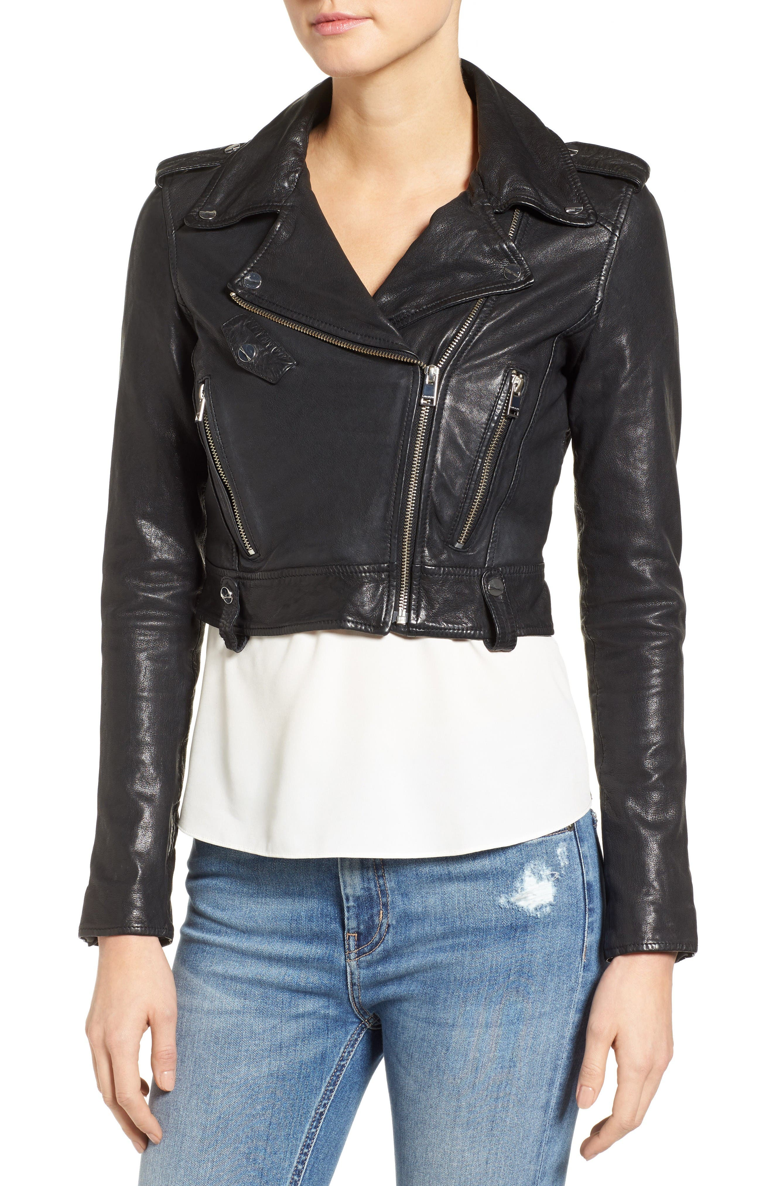 Washed Leather Crop Moto Jacket,                             Alternate thumbnail 4, color,                             Black