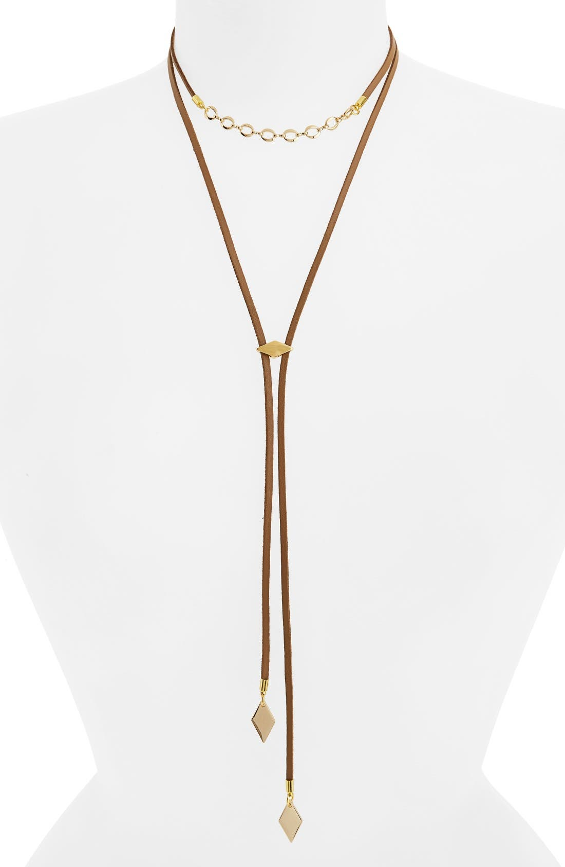 The Cicely Bolo Necklace,                         Main,                         color, Tan