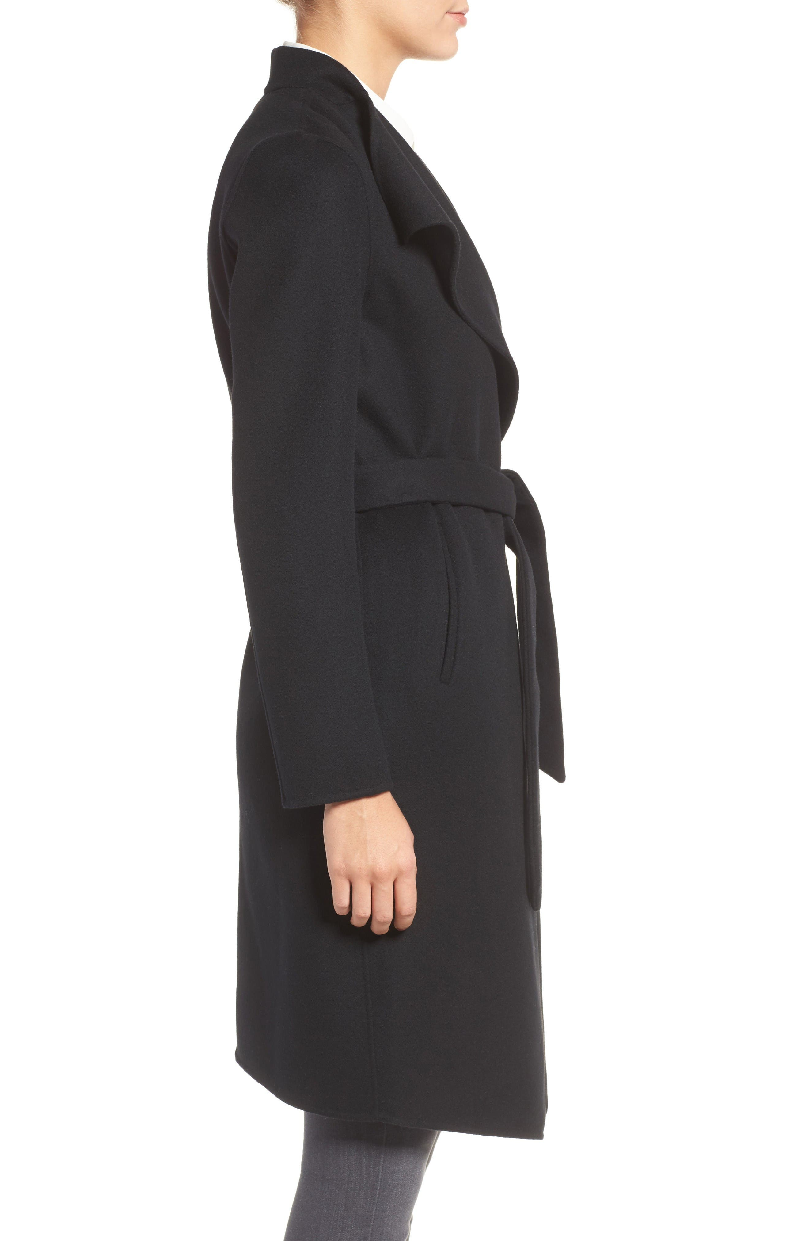 Belted Long Wool Coat,                             Alternate thumbnail 3, color,                             Black