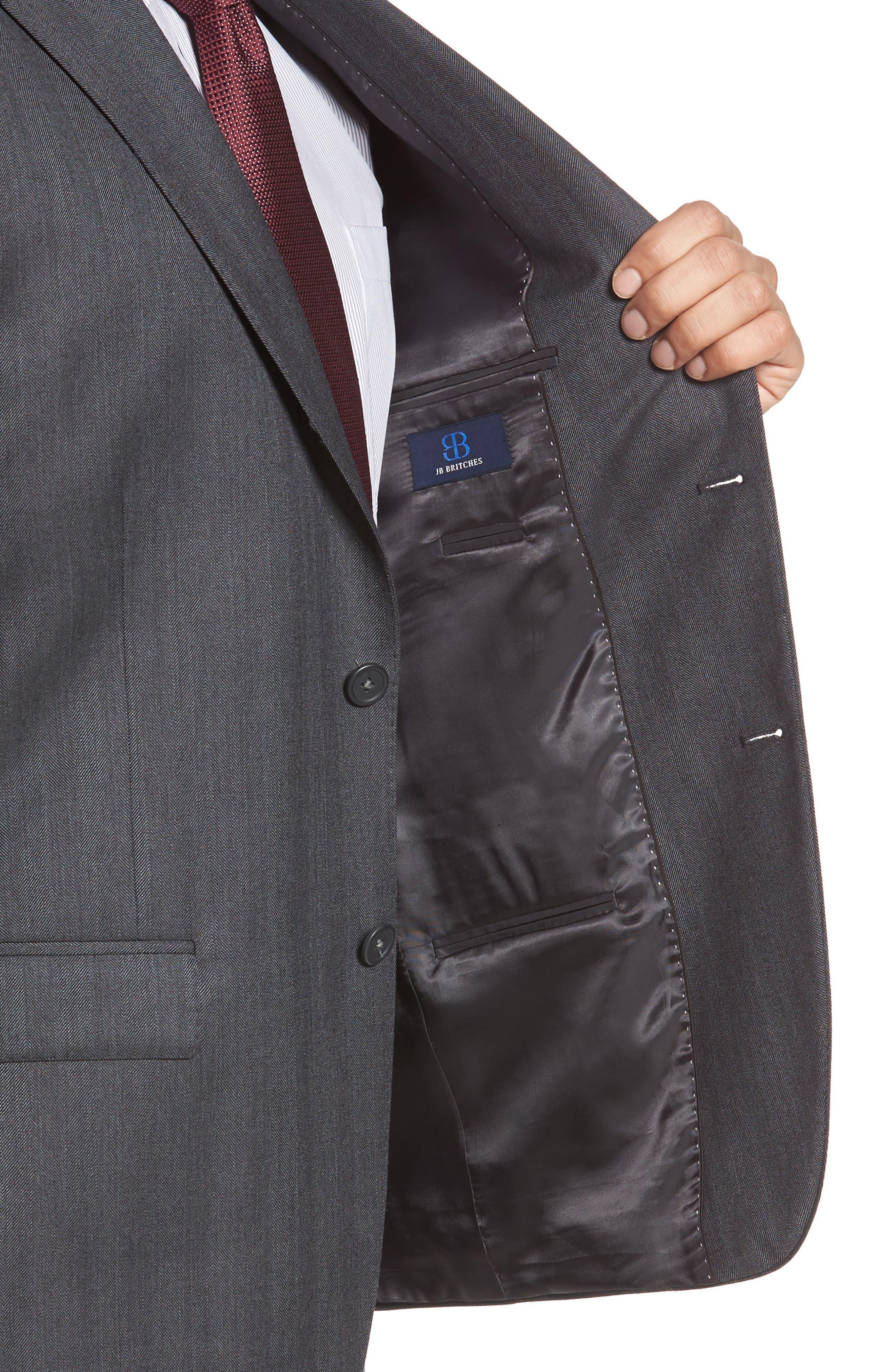 Classic Fit Herringbone Wool Sport Coat,                             Alternate thumbnail 4, color,                             Charcoal
