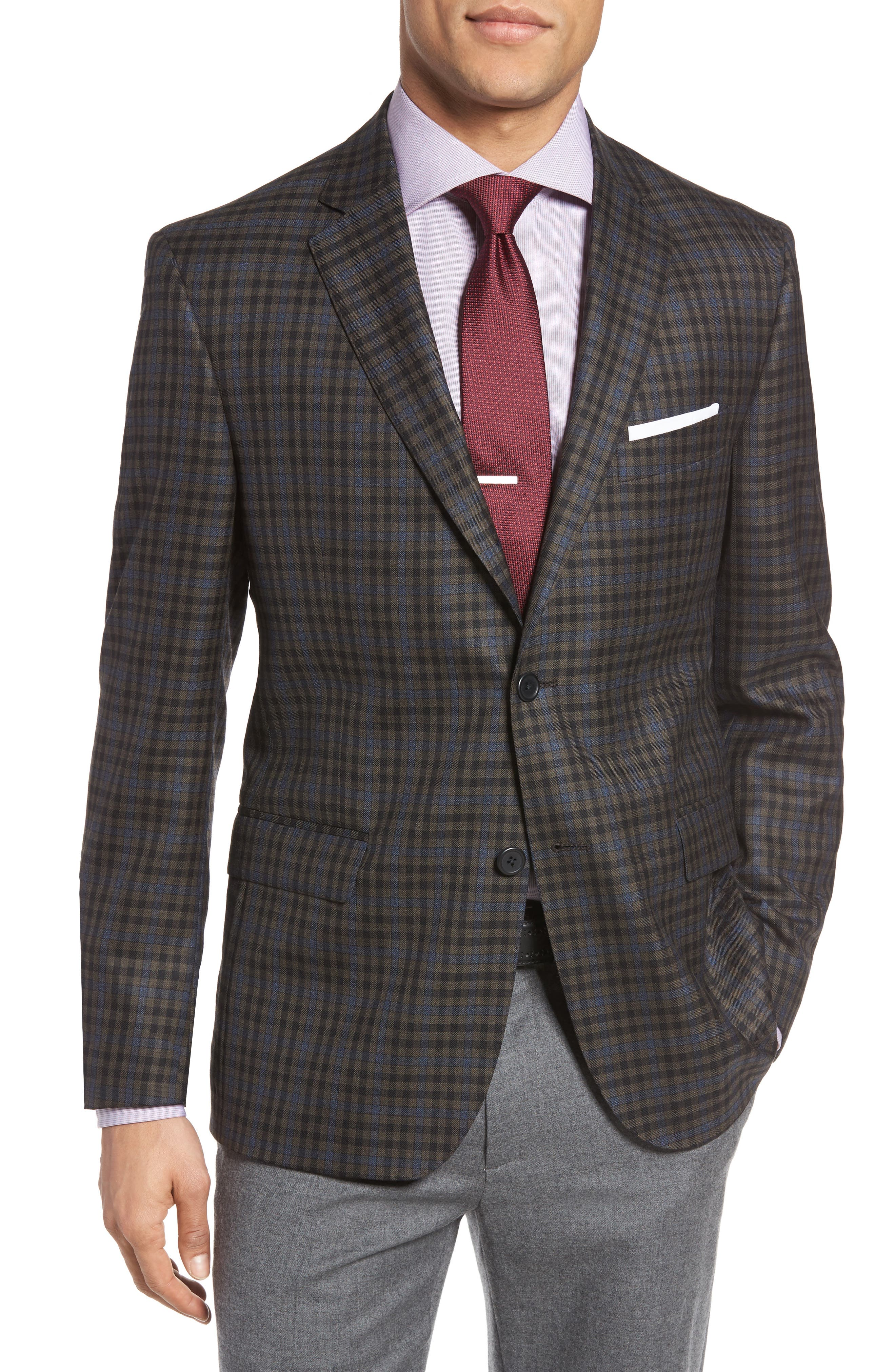 Classic Fit Check Wool Sport Coat,                         Main,                         color, Brown