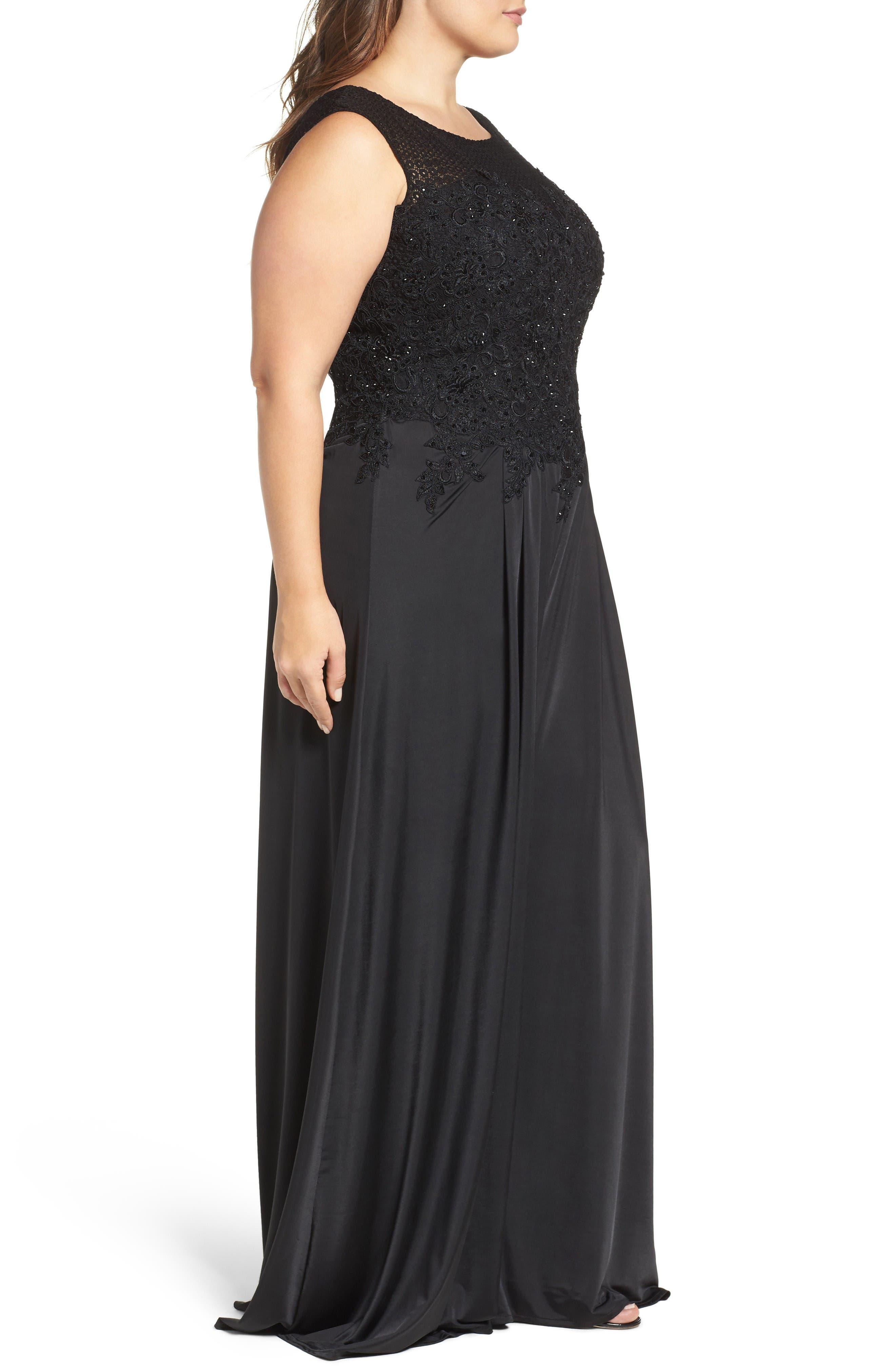 Alternate Image 3  - Mac Duggal Lace Appliqué Jumpsuit (Plus Size)