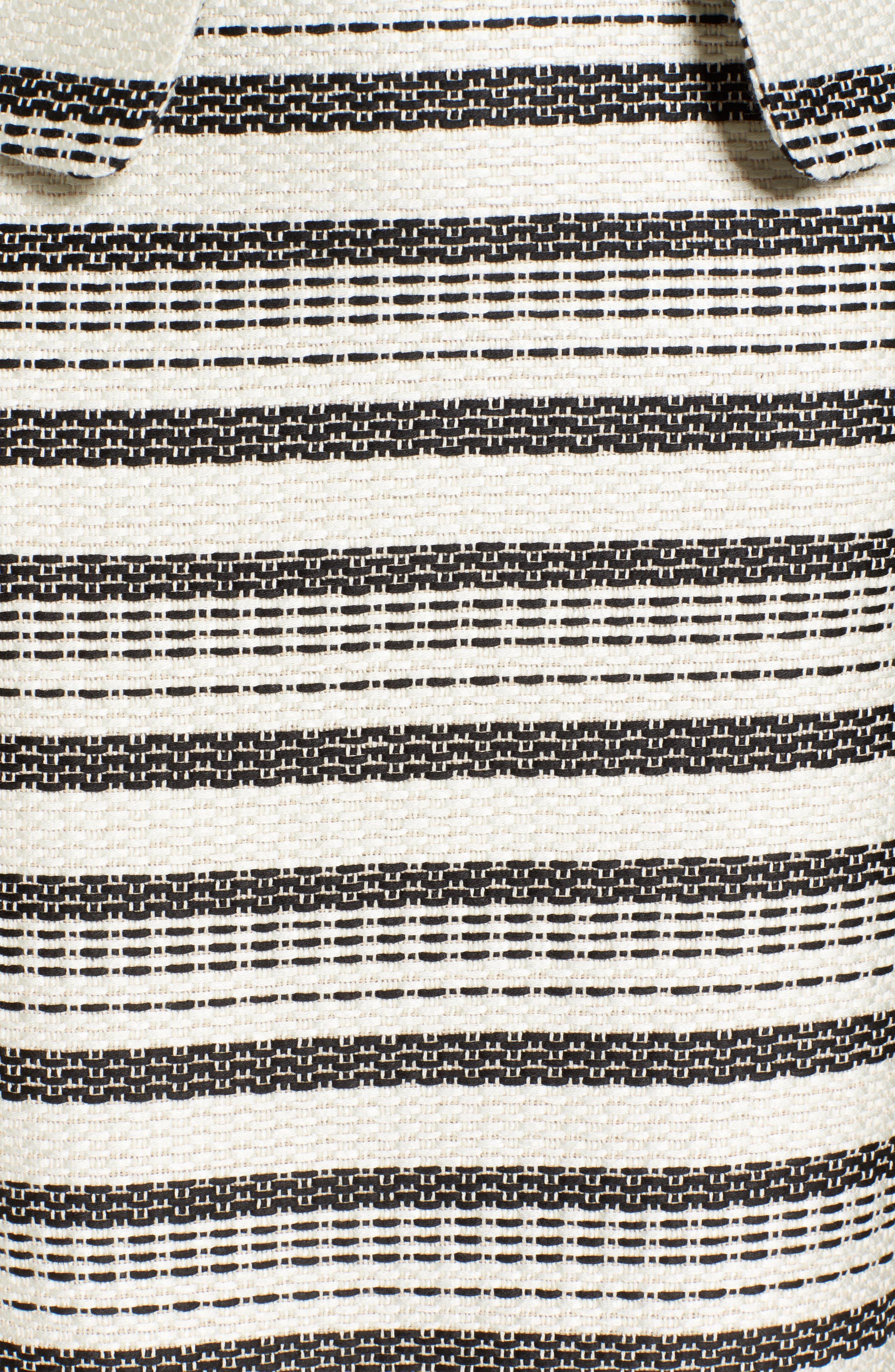 Open Front Jacket,                             Alternate thumbnail 6, color,                             Ivory- Black Tweed