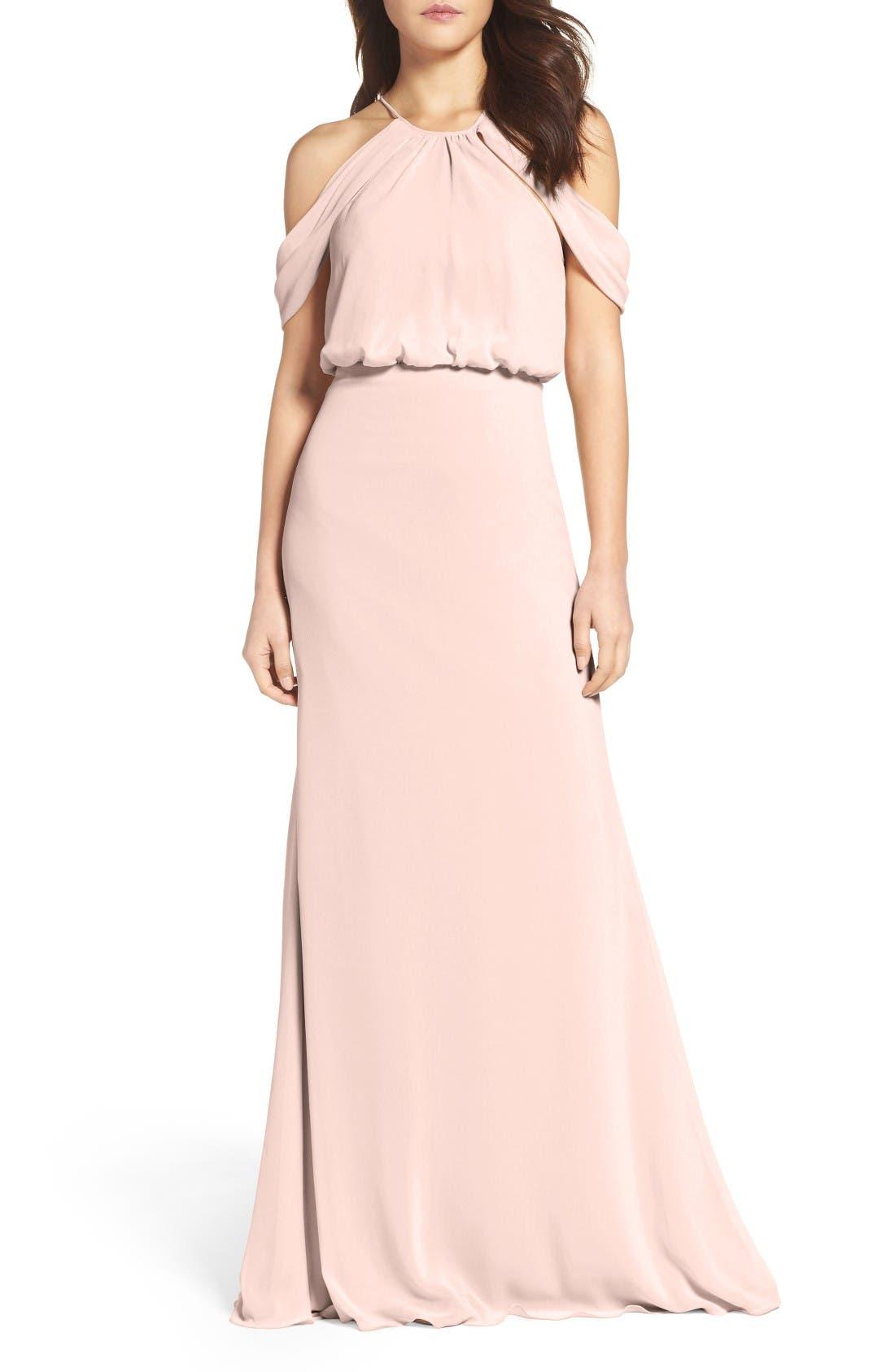 Deni A-Line Chiffon Gown,                         Main,                         color, Buff