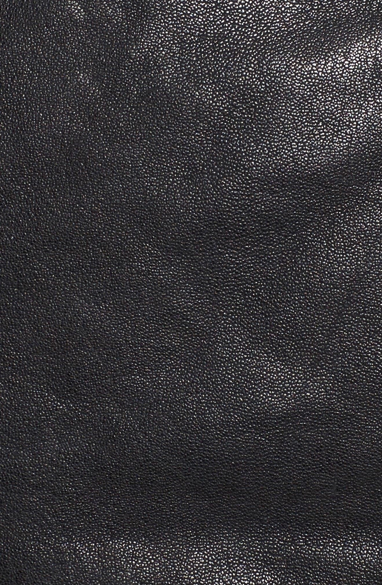 Washed Leather Crop Moto Jacket,                             Alternate thumbnail 5, color,                             Black