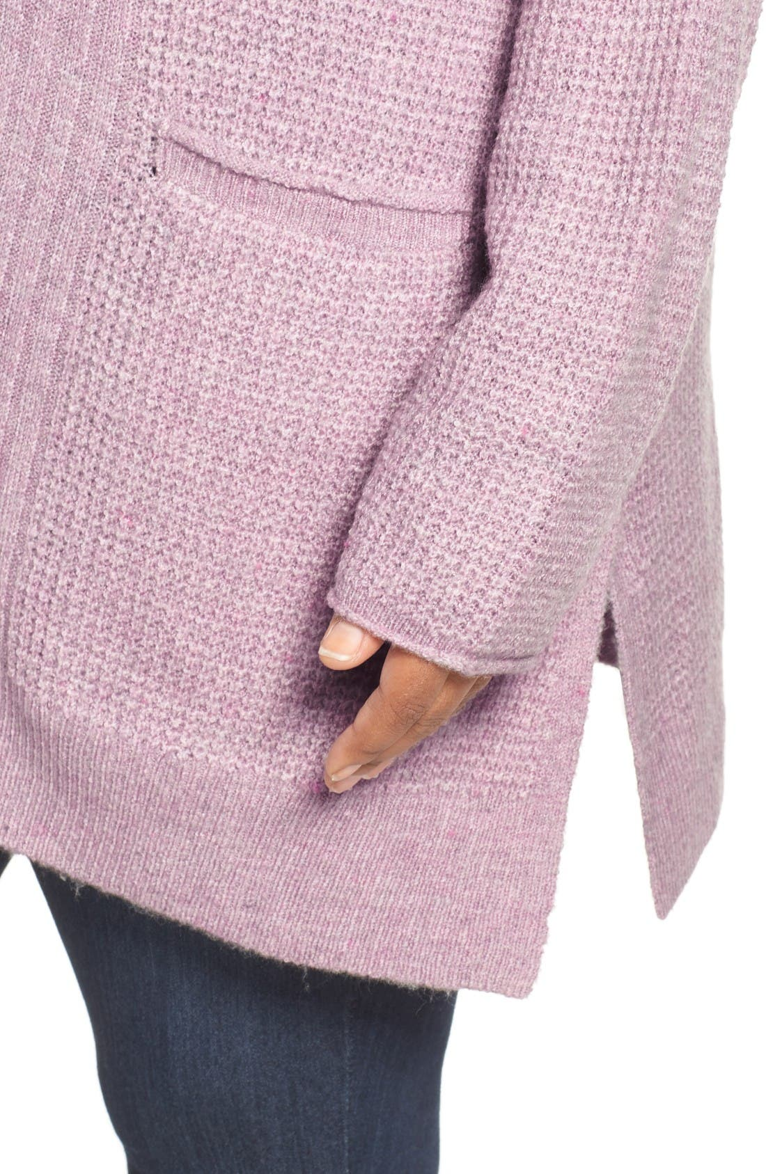 Mixed Stitch V-Neck Tunic Sweater,                             Alternate thumbnail 4, color,                             Heather Purple Morn