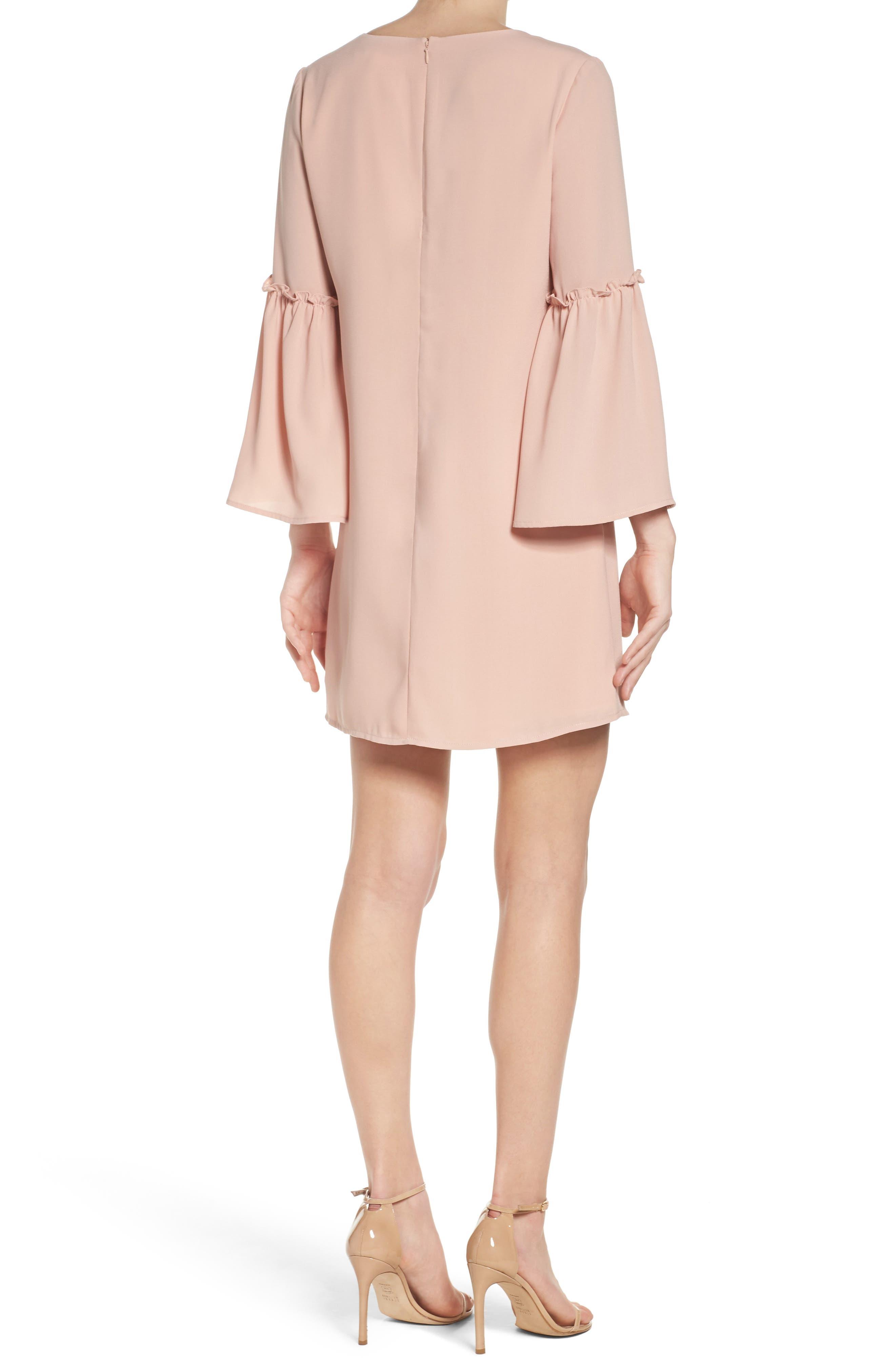 Ruffle Bell Sleeve Dress,                             Alternate thumbnail 2, color,                             Pink Dust