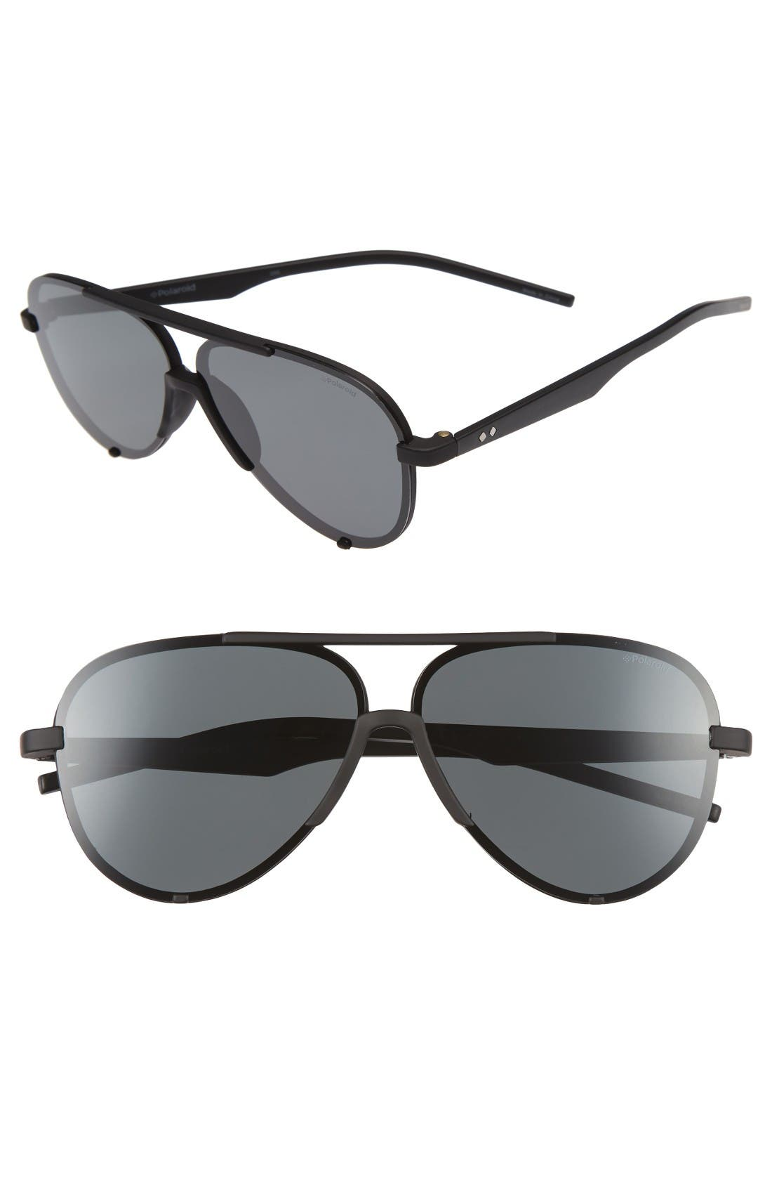 Polaroid 60mm Polarized Aviator Sunglasses