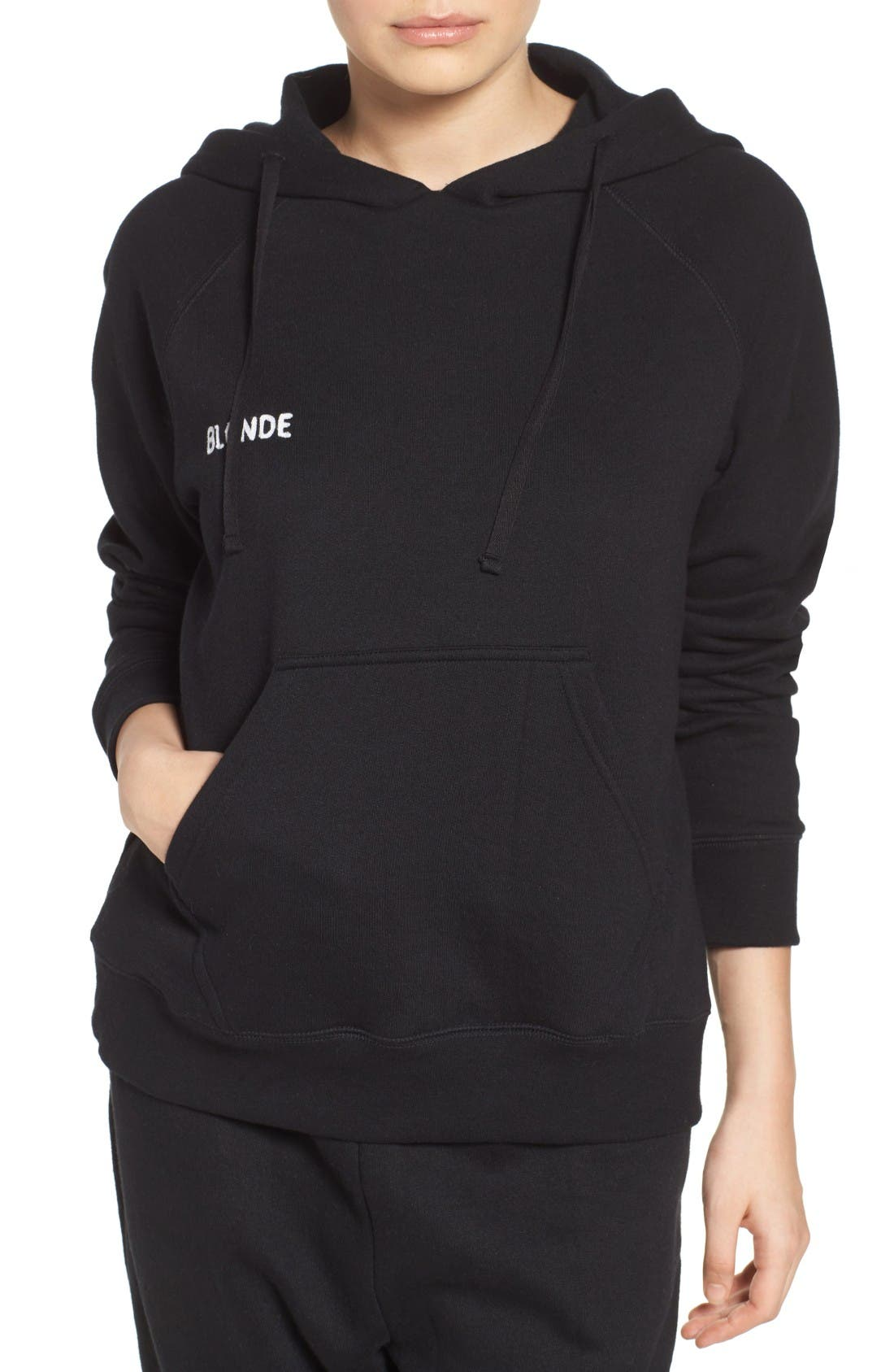 Blonde Lounge Hoodie,                             Alternate thumbnail 4, color,                             Black
