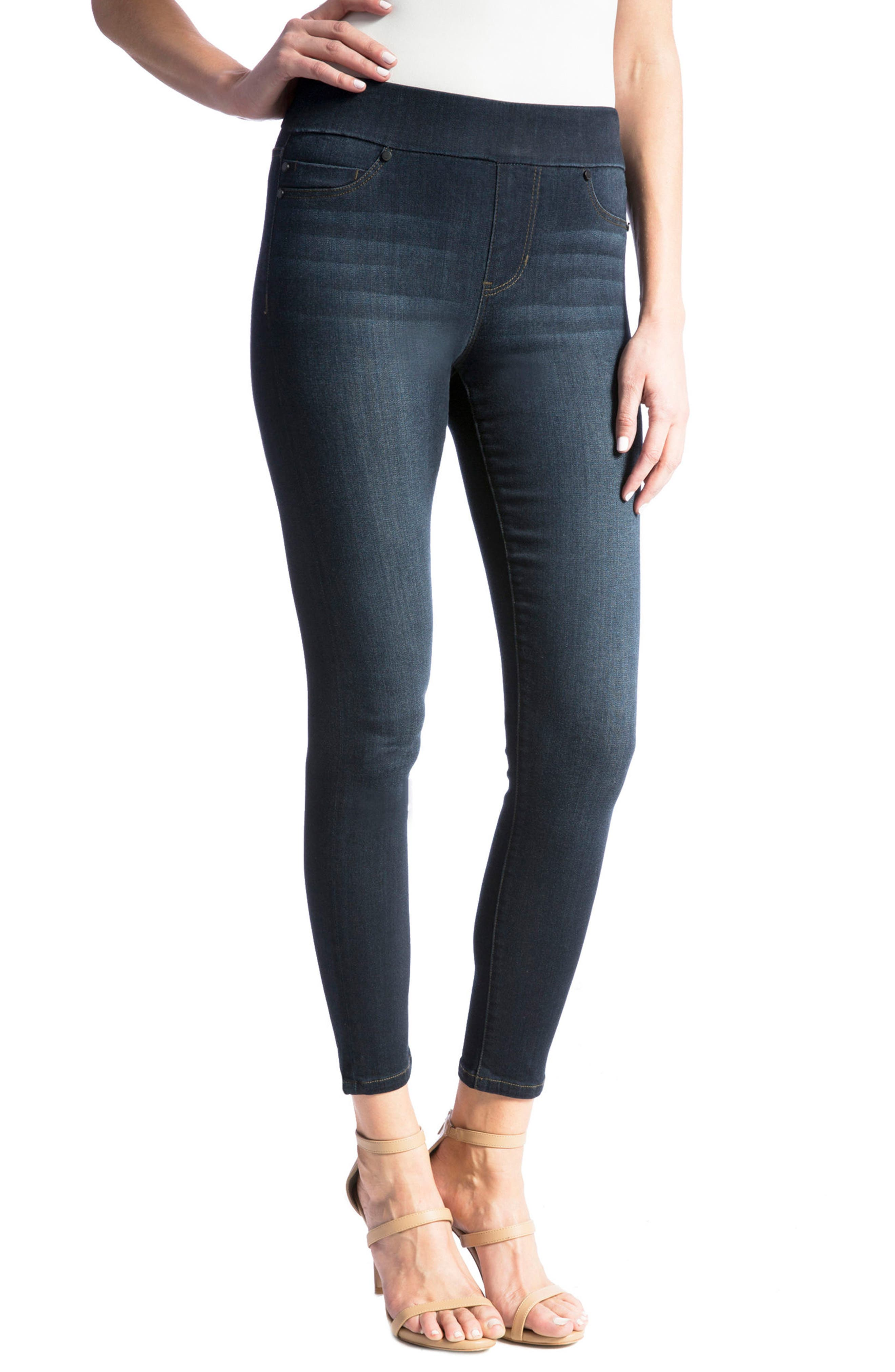 Alternate Image 5  - Liverpool Jeans Company High Rise Stretch Denim Ankle Leggings (Dynasty Dark) (Regular & Petite)