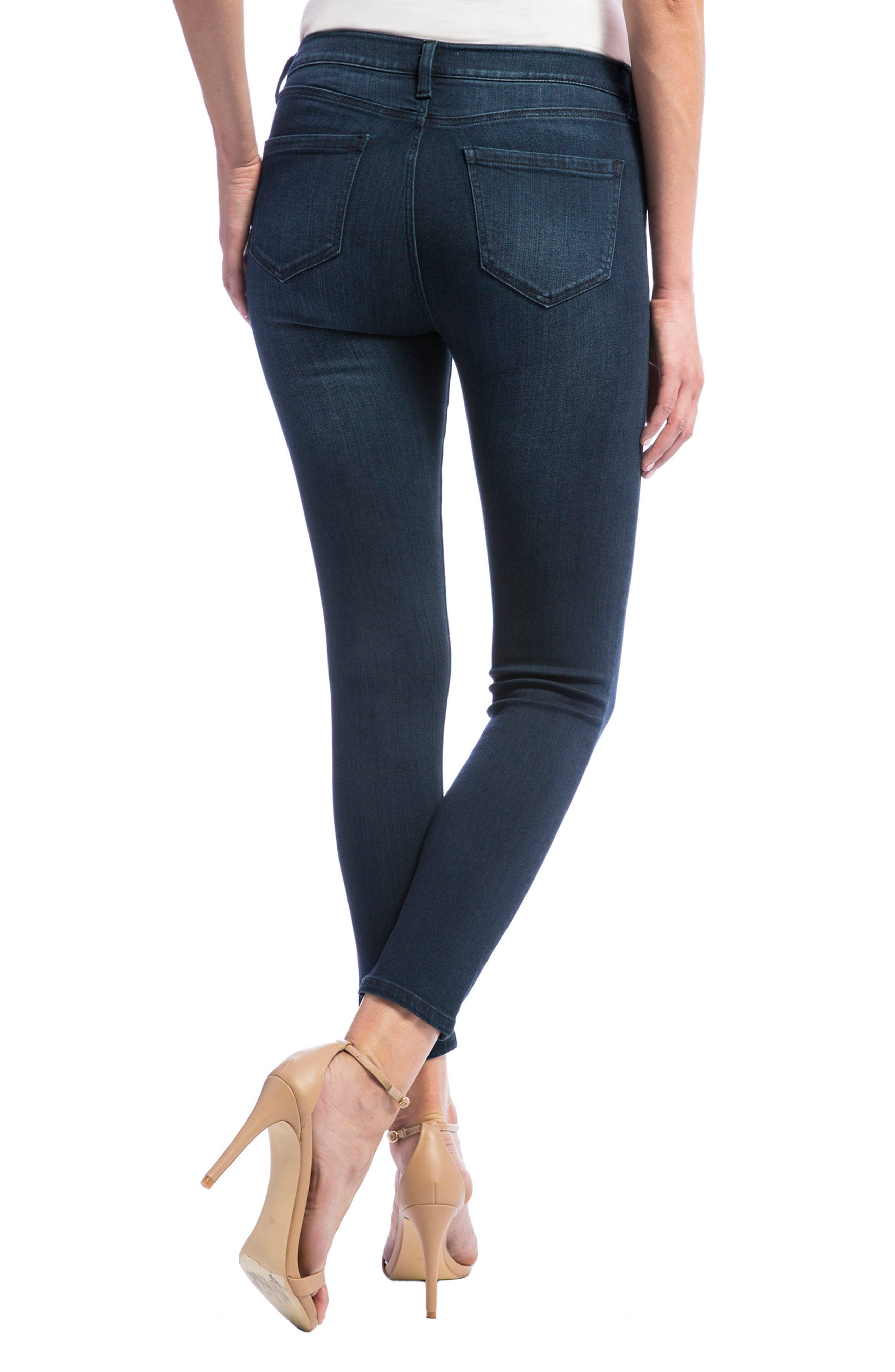 High Rise Stretch Ankle Skinny Jeans,                             Alternate thumbnail 3, color,                             Doheny Dark