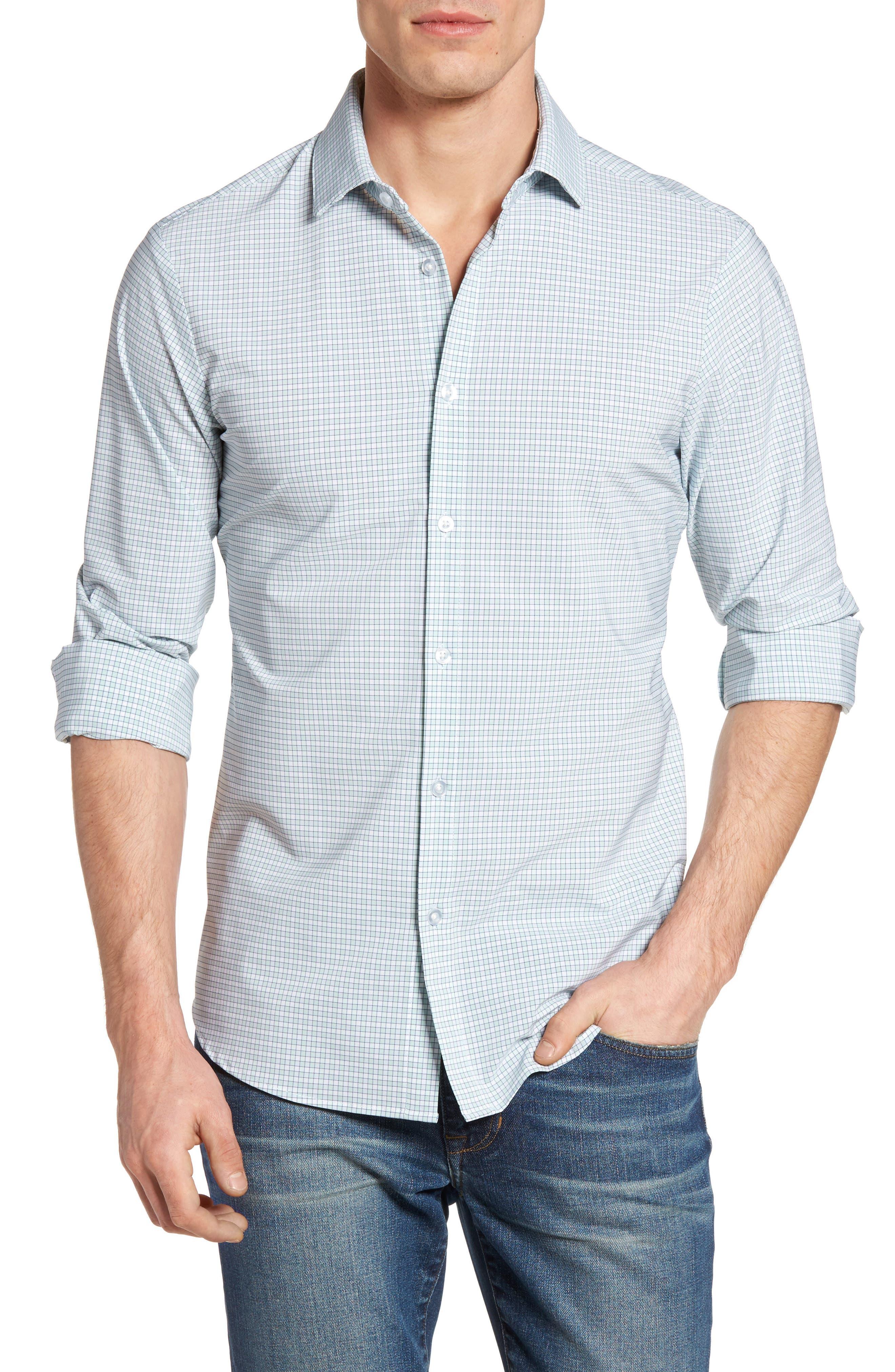 Thames Illusion Gingham Performance Sport Shirt,                         Main,                         color, Aqua