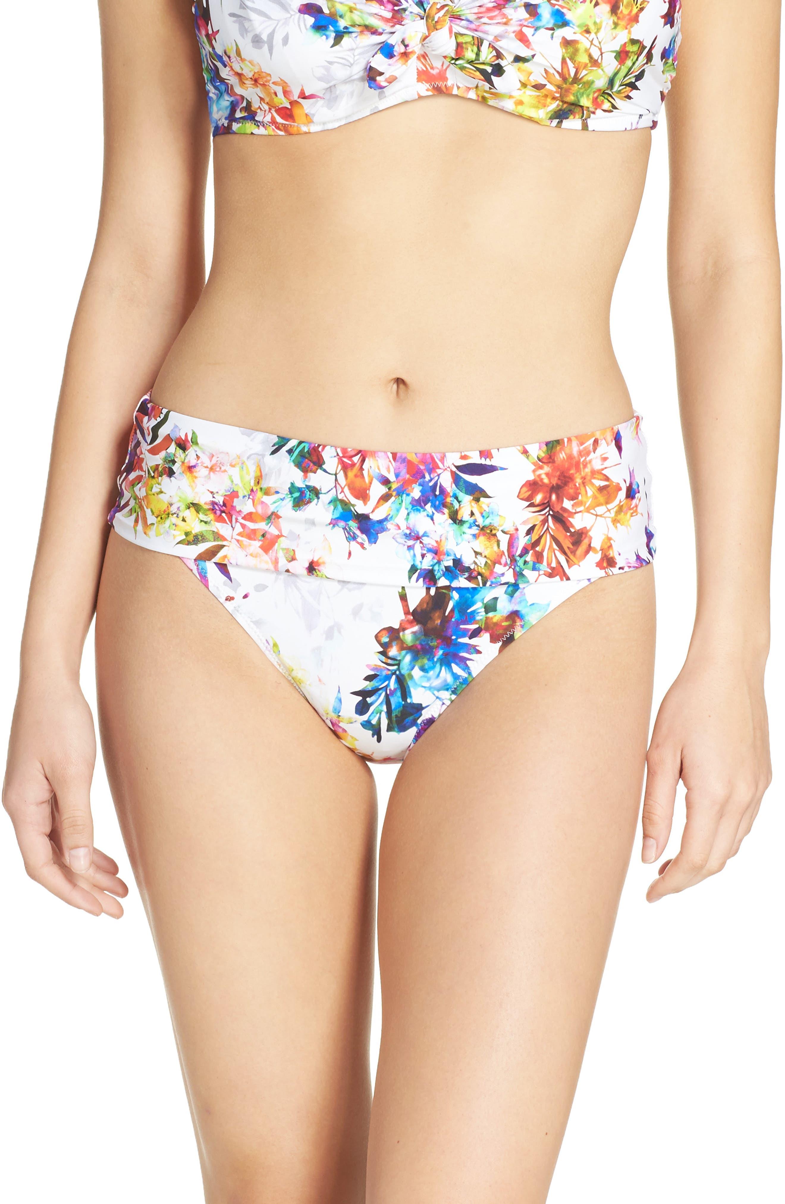 Agra Foldover Waist Bikini Bottoms,                             Main thumbnail 1, color,                             White Multi